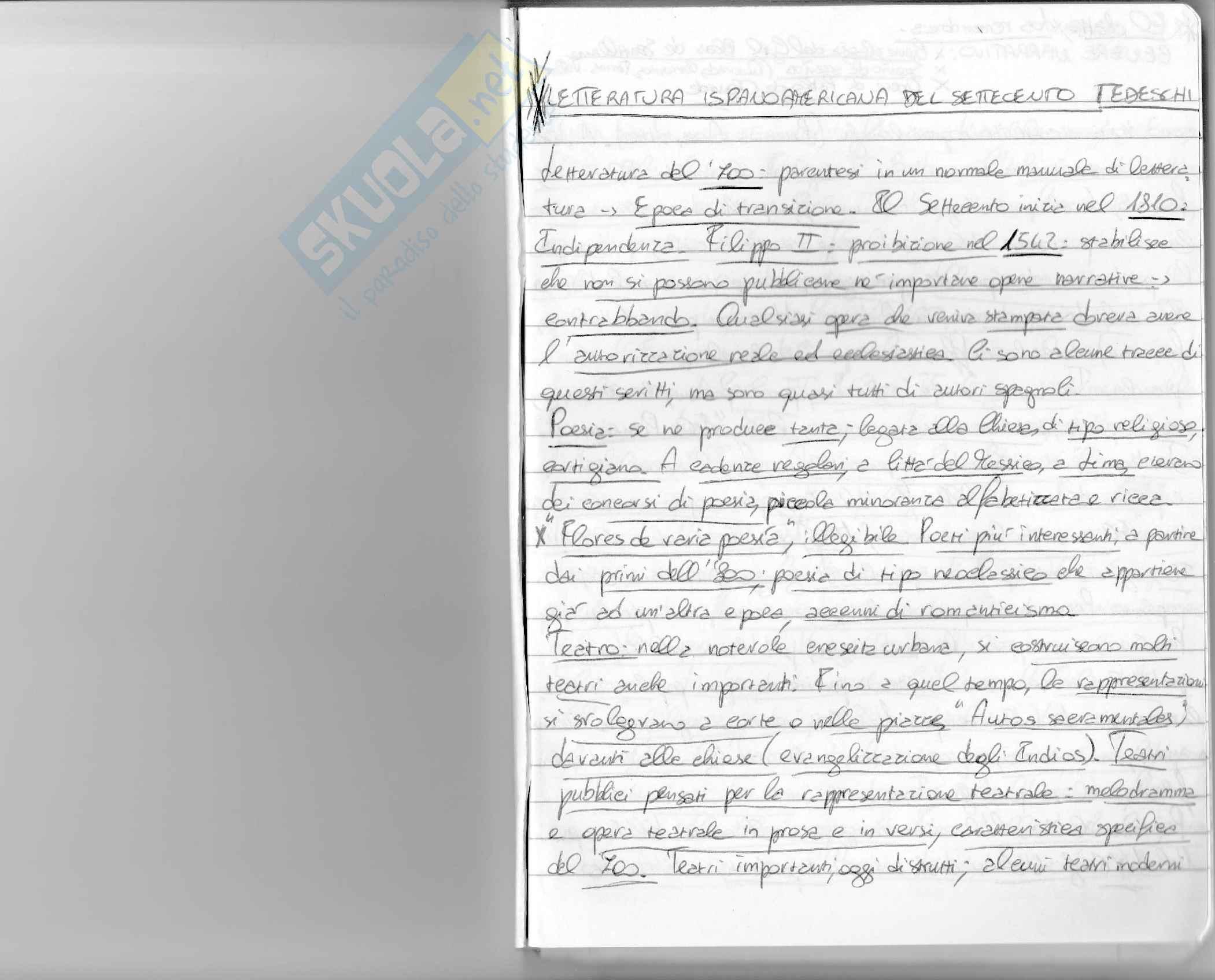 appunto S. Tedeschi Letteratura ispano-americana del '700