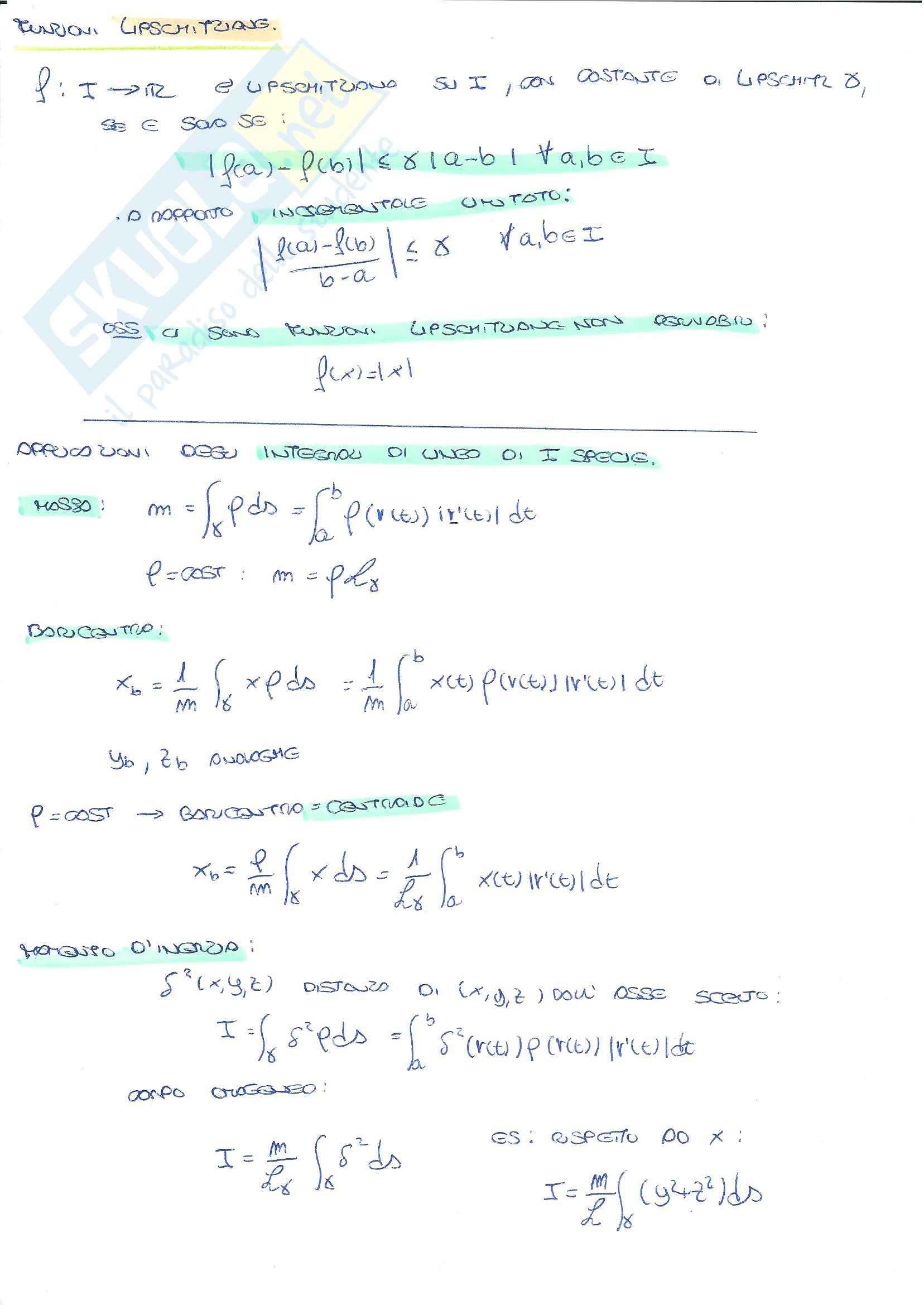 Analisi Matematica 2 - Riassunto esame, prof. Migliavacca