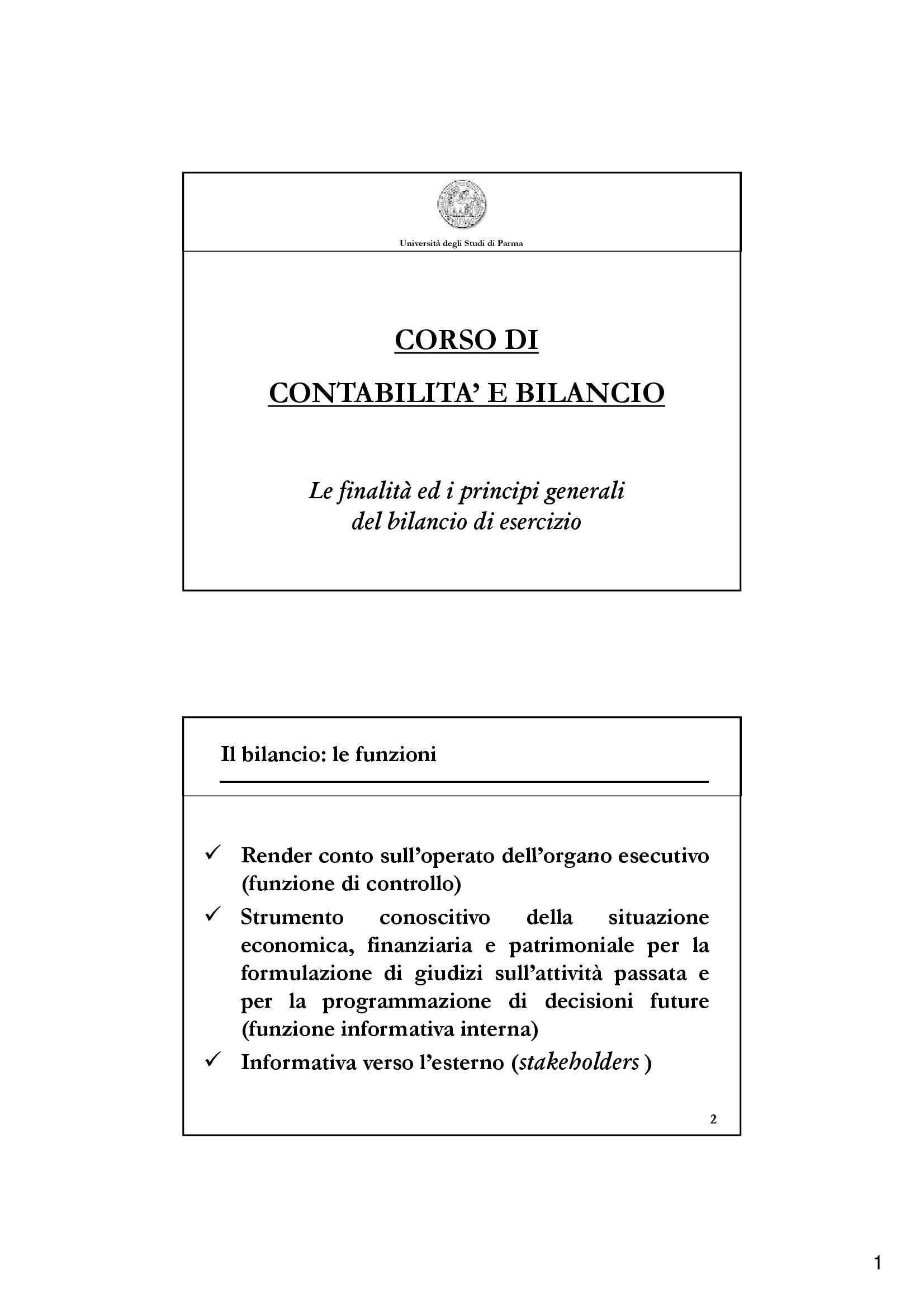 Contabilità e bilancio - le finalità ed i principi generali del bilancio d'esercizio