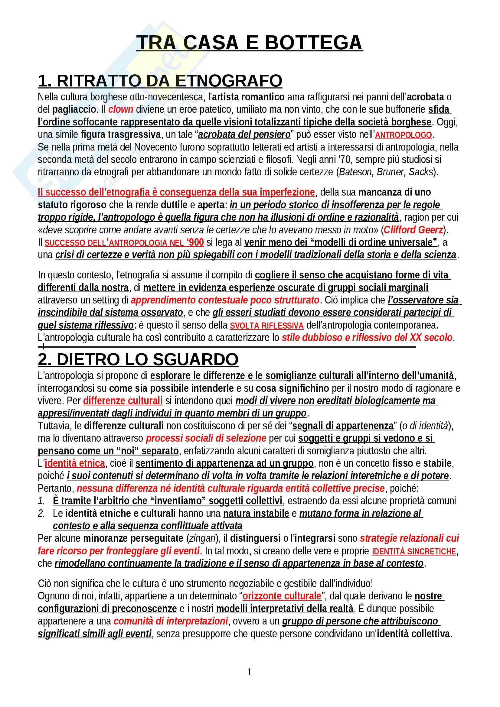 """Riassunto esame Antropologia Culturale, prof. Padiglione, libro consigliato """"Tra casa e bottega"""", Padiglione"""