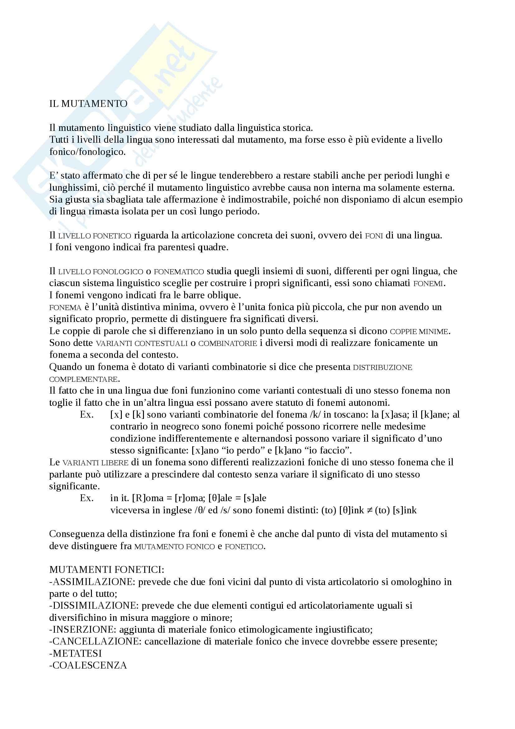 Riassunto esame Glottologia, prof. Fanciullo, libro consigliato Introduzione alla linguistica storica