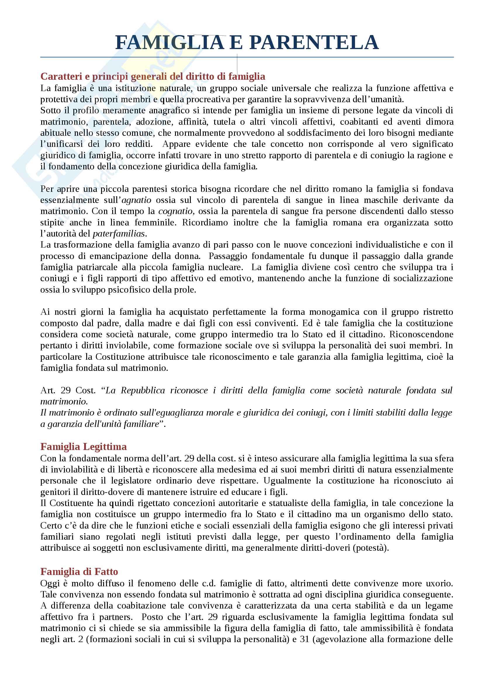 Riassunto esame diritto privato II sul diritto di famiglia e successorio, prof. Gemma, libro consigliato Istituzioni di diritto privato, Bessone