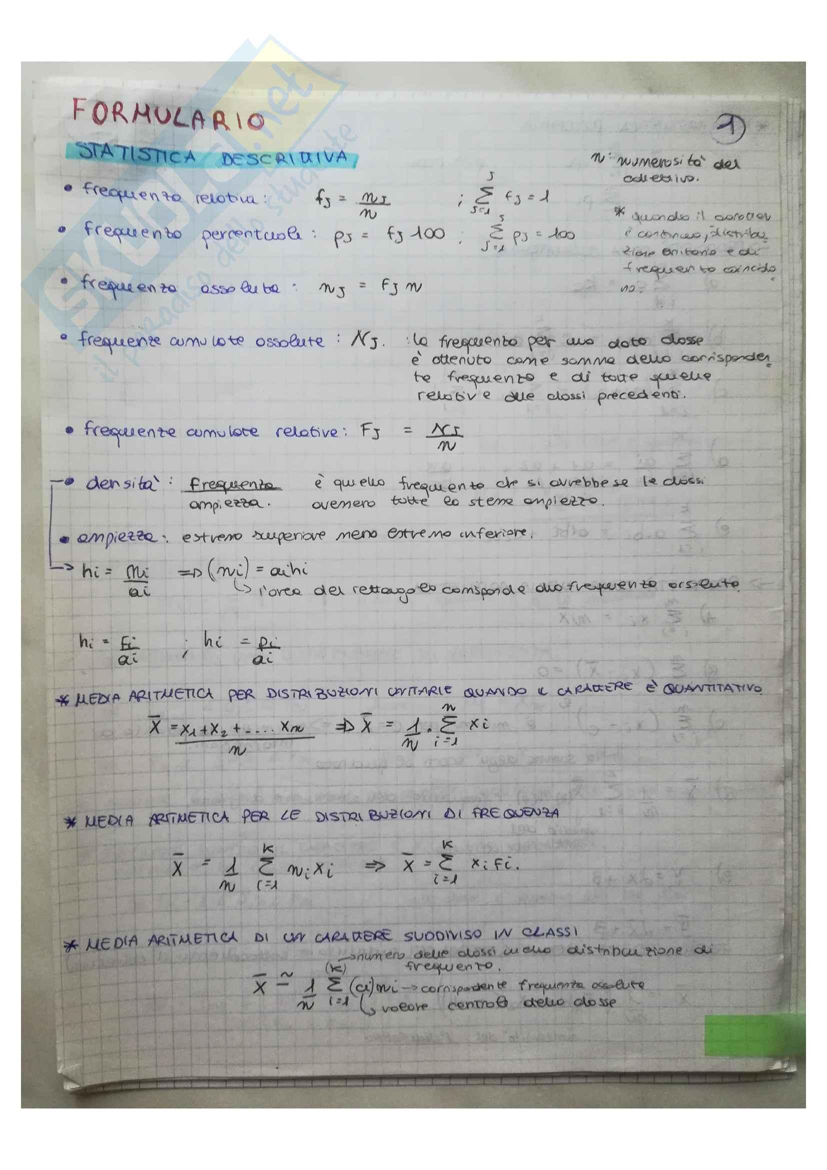 Formulario Statisca descrittiva Probabilità e variabili aleatorie