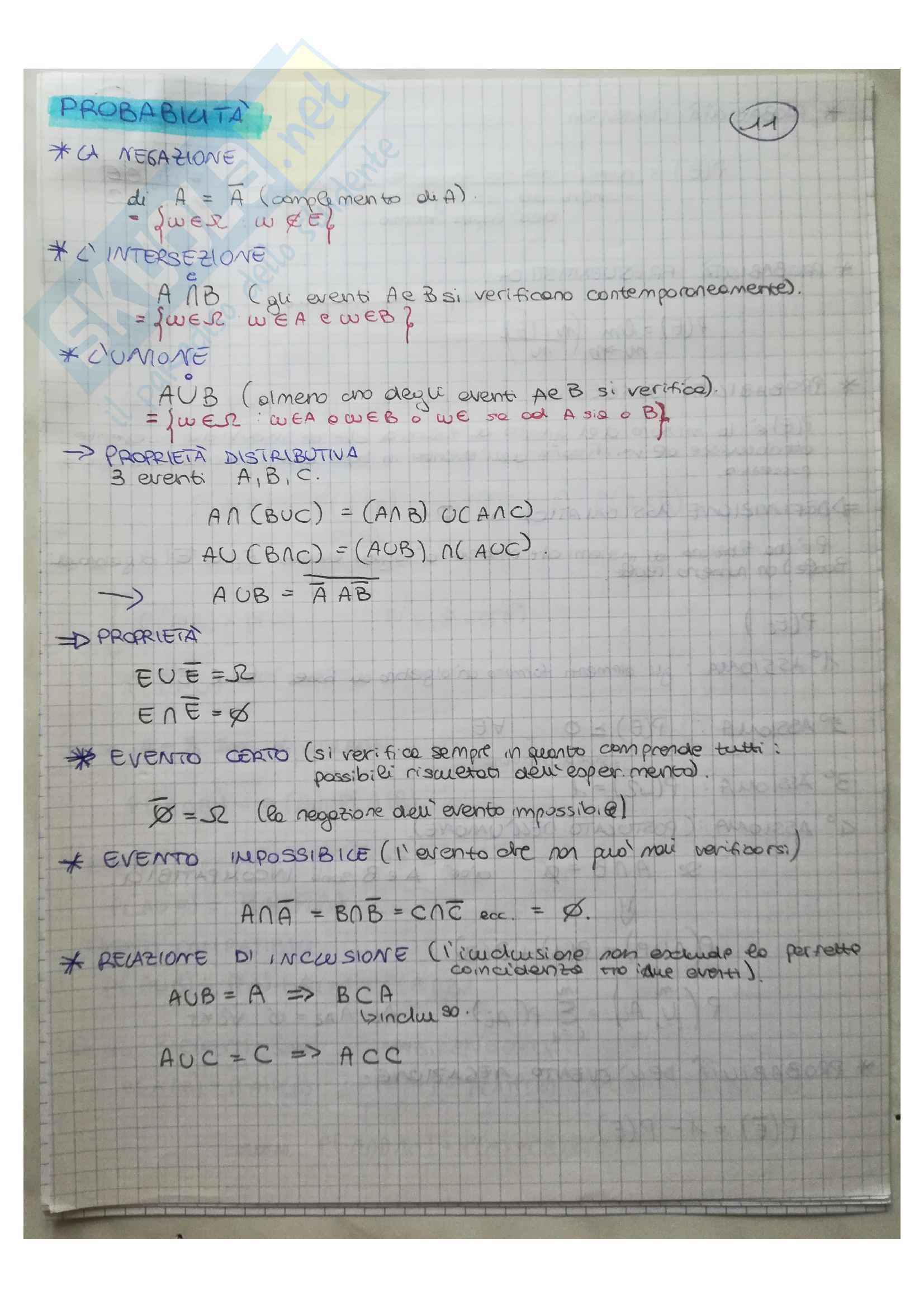 Formulario Statisca descrittiva Probabilità e variabili aleatorie Pag. 11