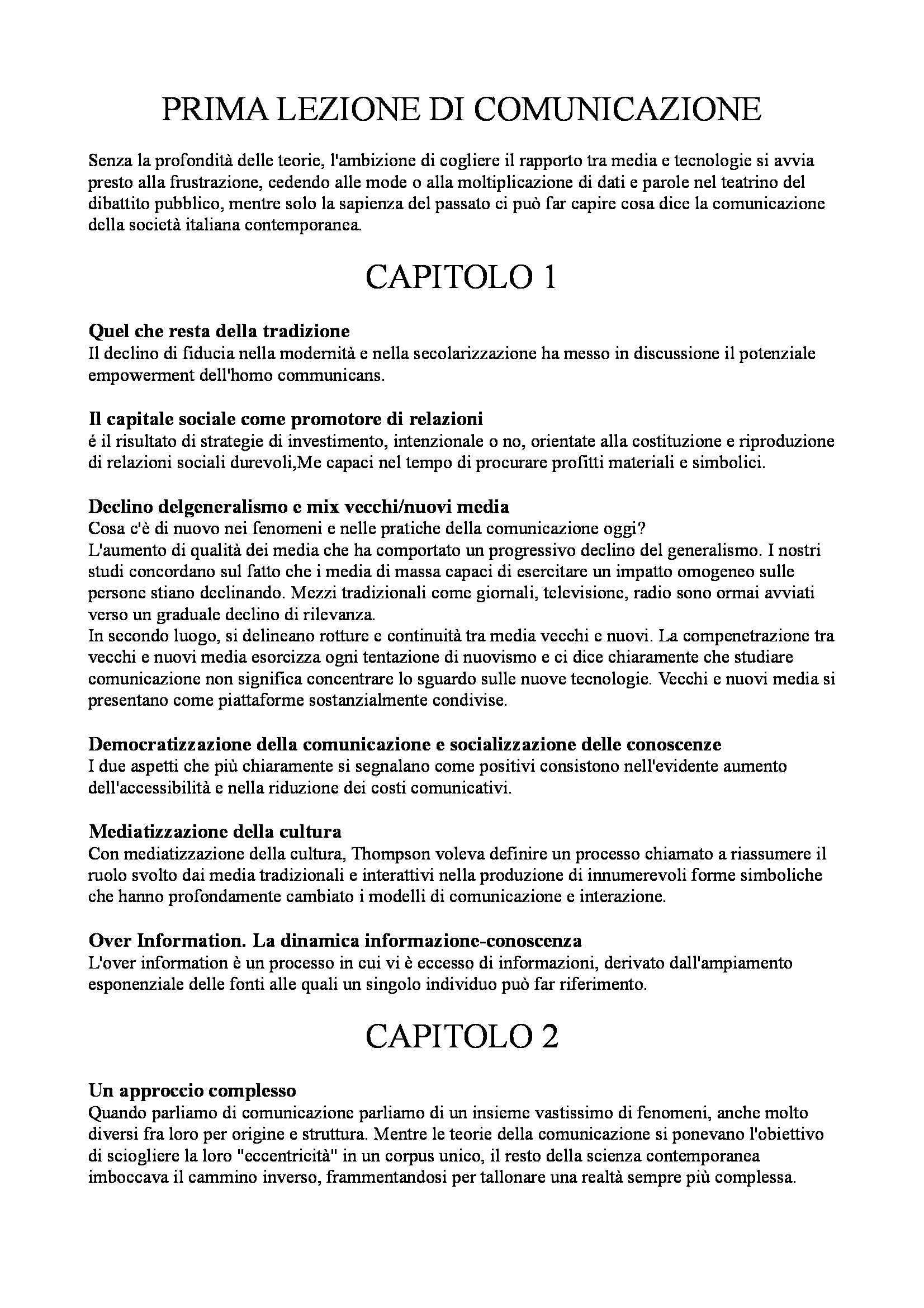 Riassunto esame Sociologia della comunicazione, prof. Fatelli, libro consigliato Comunicazione e media di Morcellini