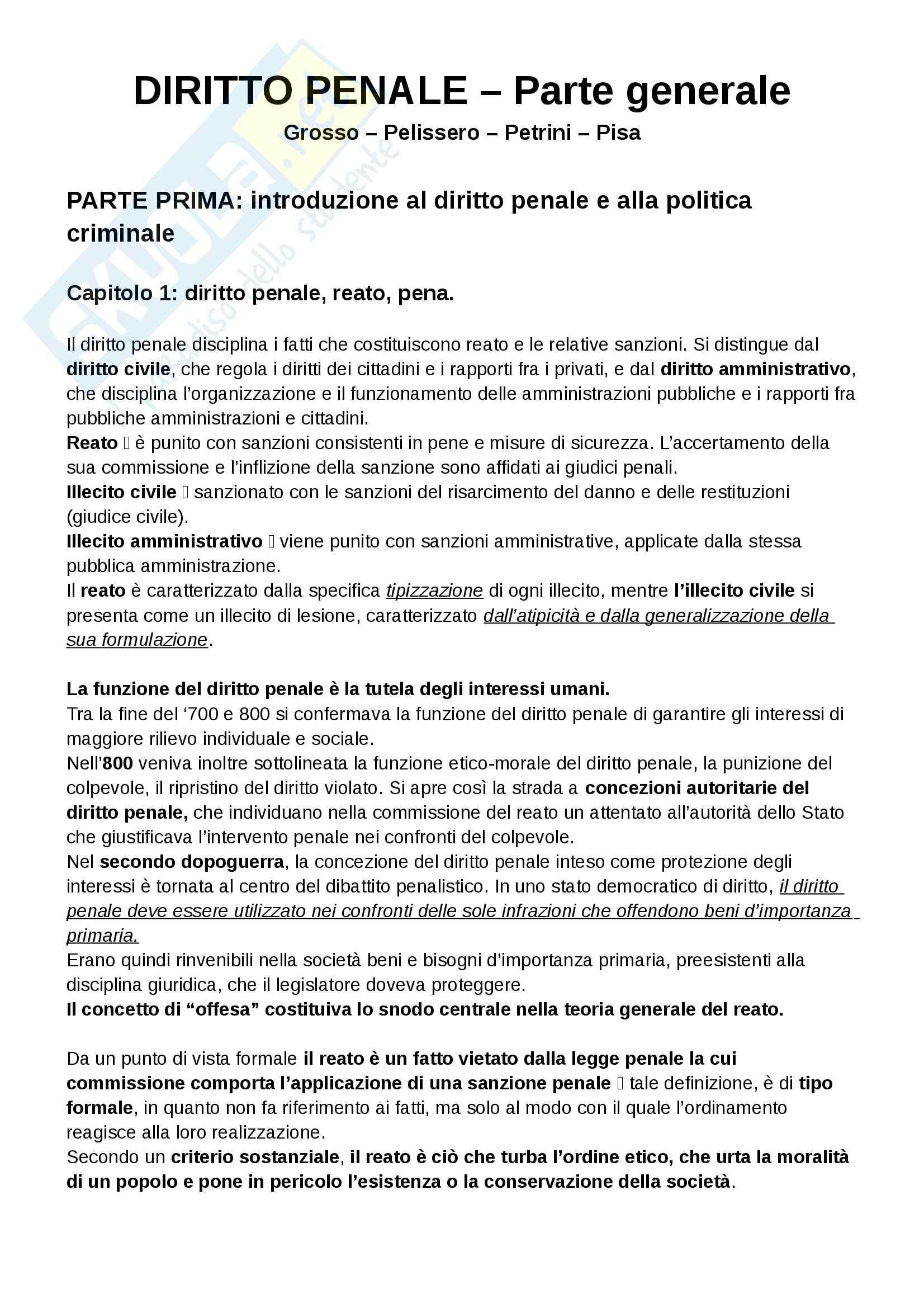 Riassunto esame Diritto Penale, prof. Falcinelli, libro consigliato Manuale di Diritto Penale - Parte generale, Grosso
