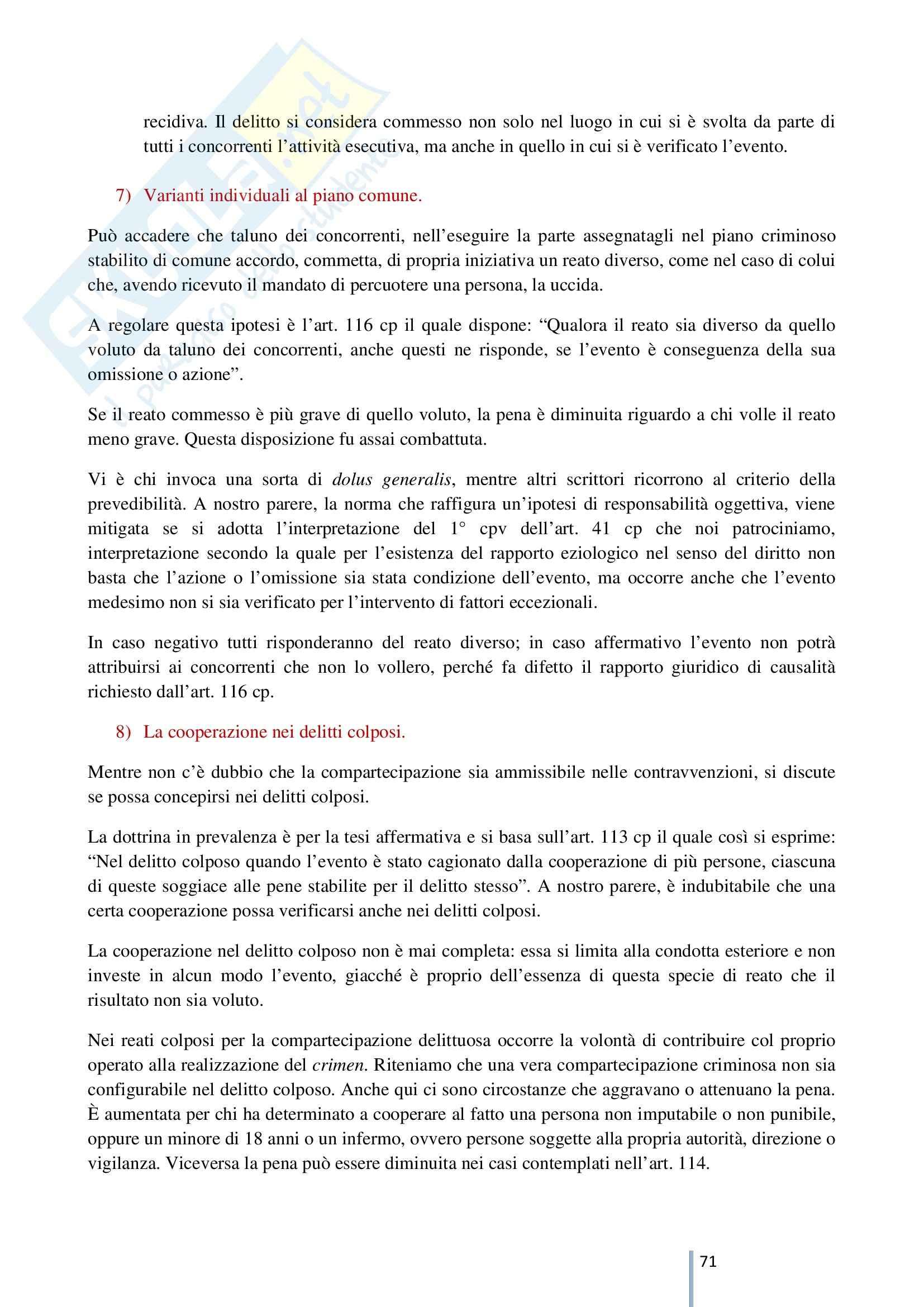 Riassunto esame Diritto Penale, prof. Caterini, libro consigliato Manuale di Diritto Penale Parte generale, Antolisei Pag. 71