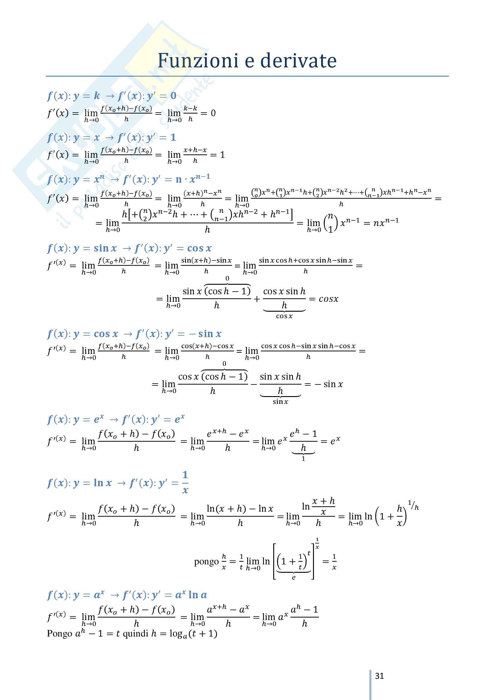 Appunti propedeutici per lo studio di funzione di Analisi 1 - solo teoria, no esercizi. Pag. 31