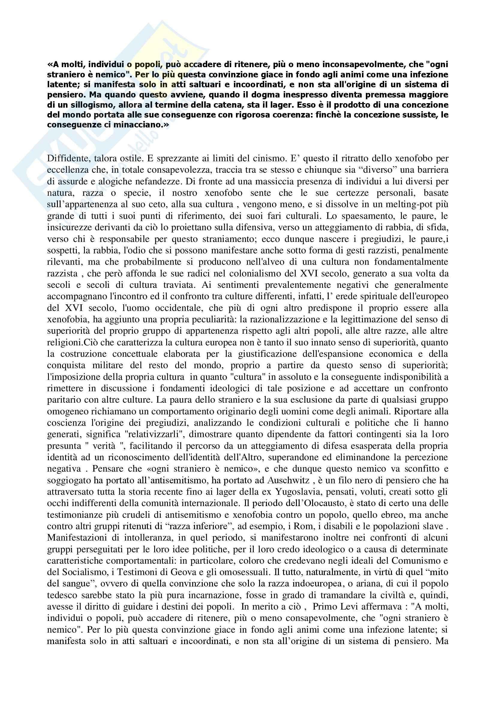 Letteratura italiana contemporanea - la xenofobia