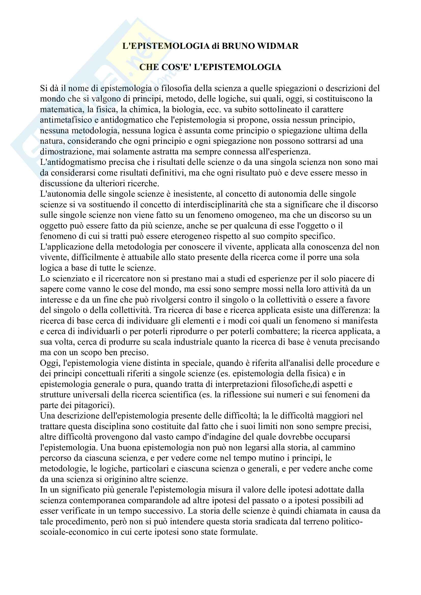 Riassunto esame Epistemologia e storia della scienza- Docente: Castellana, Libri consigliati L'epistemologia di Widmar e L'epistemologia genetica di Piaget