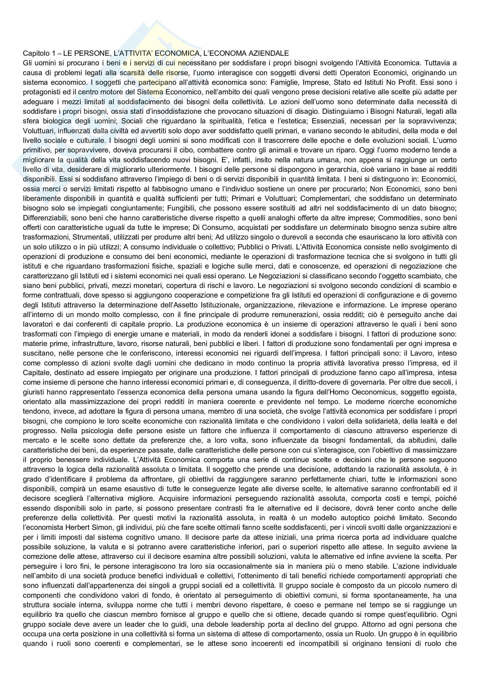 Riassunto esame Economia Aziendale, prof. Bianchi, libro consigliato Corso di economia aziendale, Airoldi, Brunetti, Coda