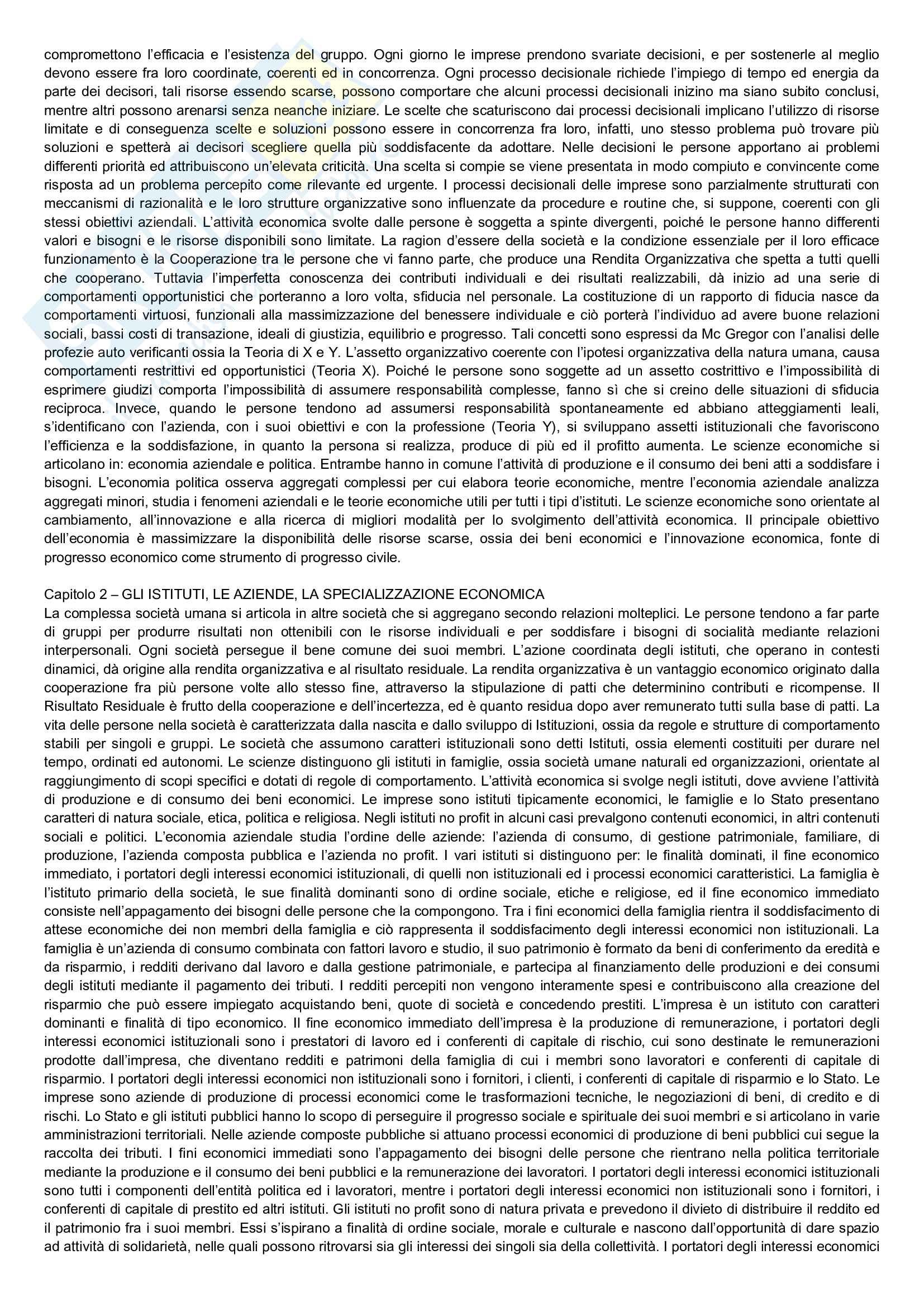 Riassunto esame Economia Aziendale, prof. Bianchi, libro consigliato Corso di economia aziendale, Airoldi, Brunetti, Coda Pag. 2