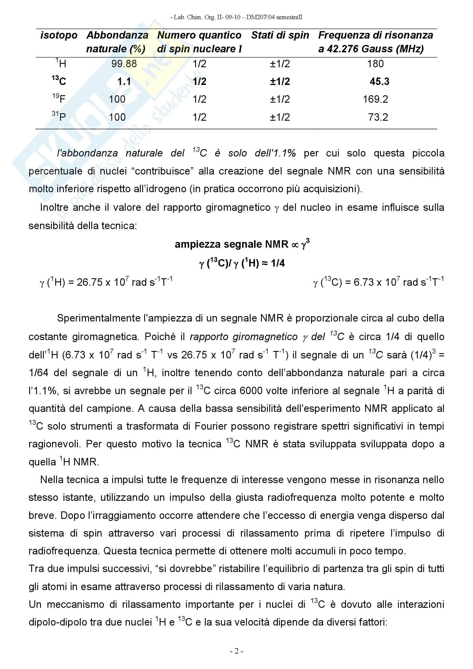 Chimica organica -  spettroscopia di risonanza magnetica al carbonio Pag. 2