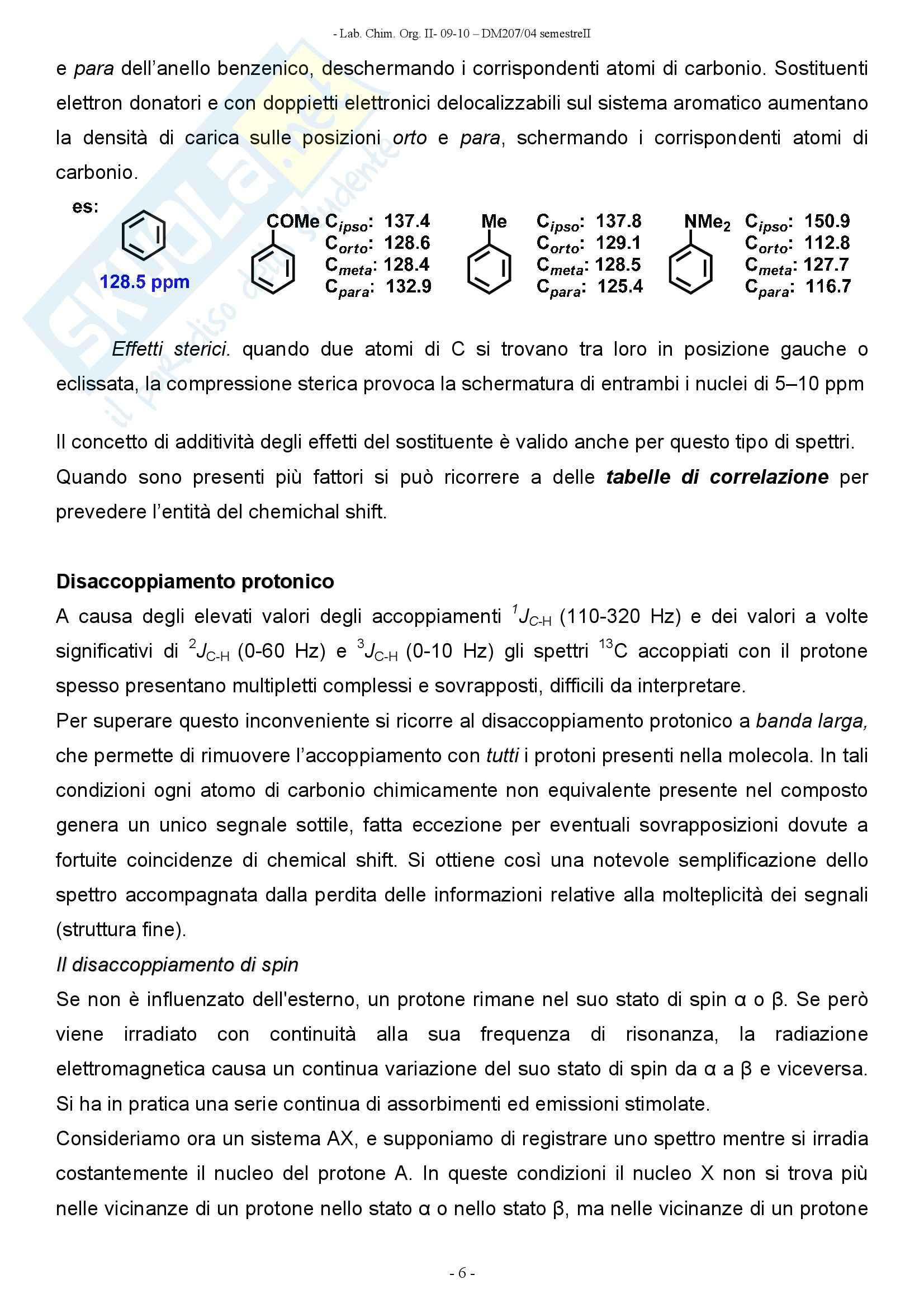 Chimica organica -  spettroscopia di risonanza magnetica al carbonio Pag. 6