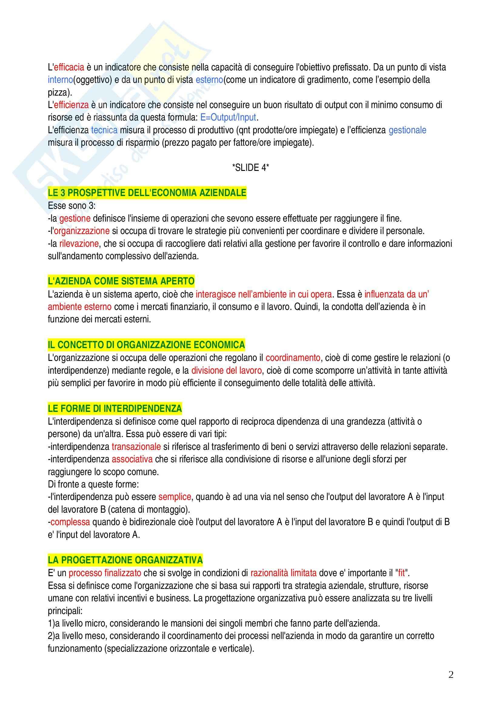 Economia ed organizzazione aziendale - domande Pag. 2