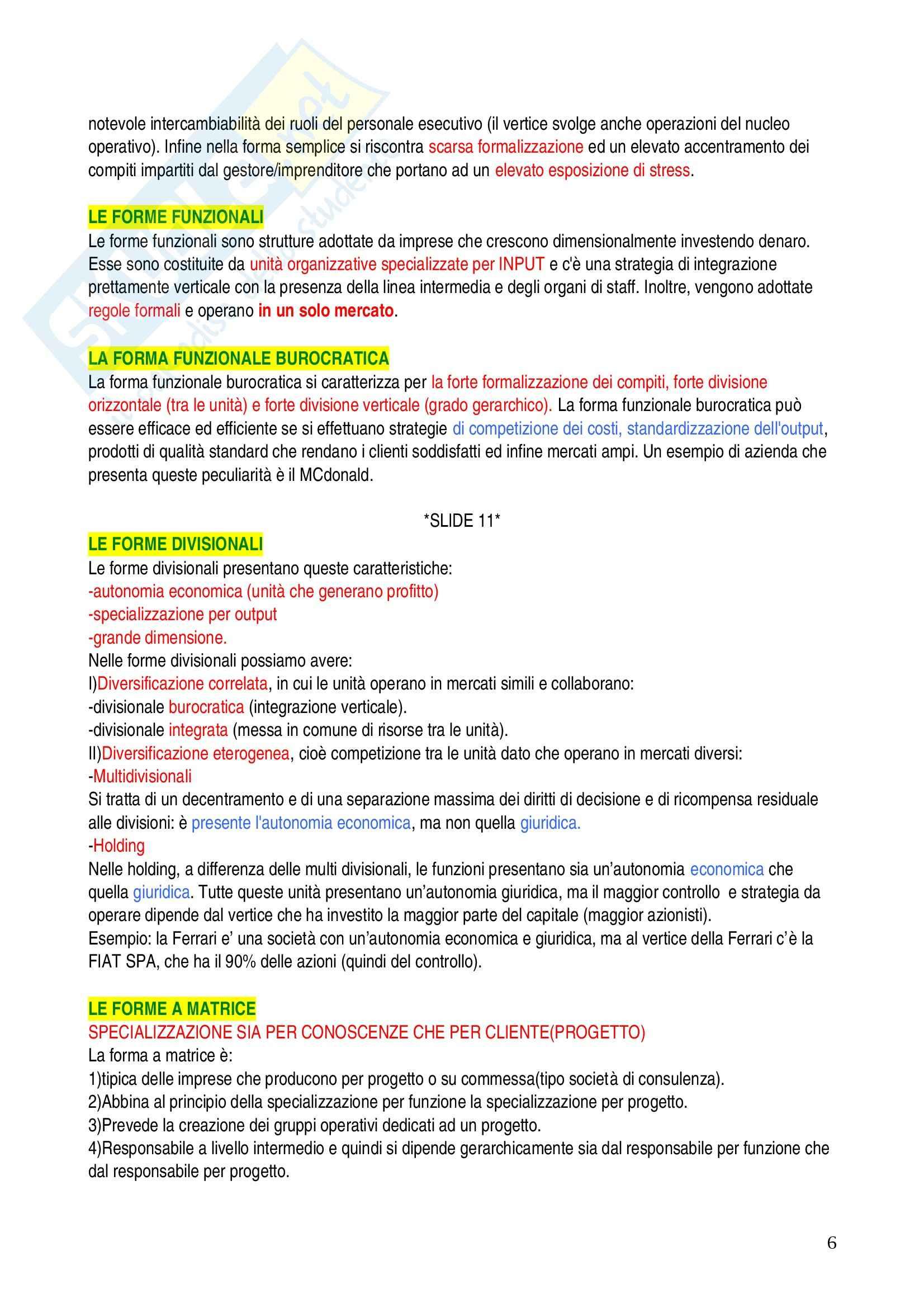 Economia ed organizzazione aziendale - domande Pag. 6
