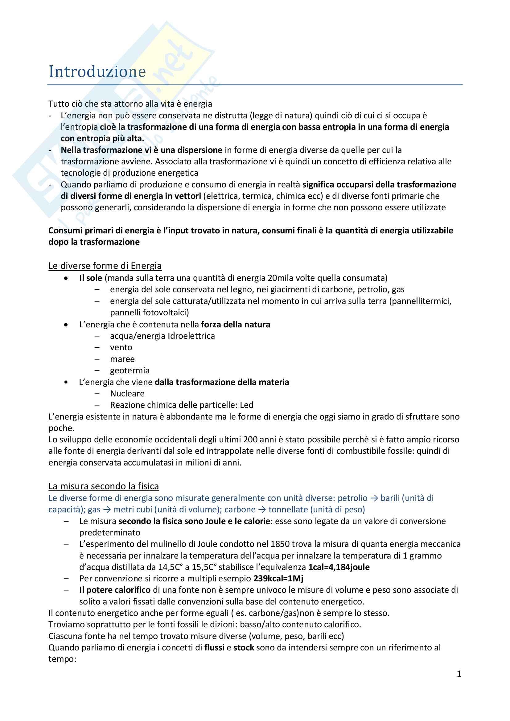 Riassunto esame Economia dell'energia e gestione dei beni ambientali, prof. Pia Saraceno, libro consigliato P. Ranci, Economia dell'energia, Il Mulino, 2011.