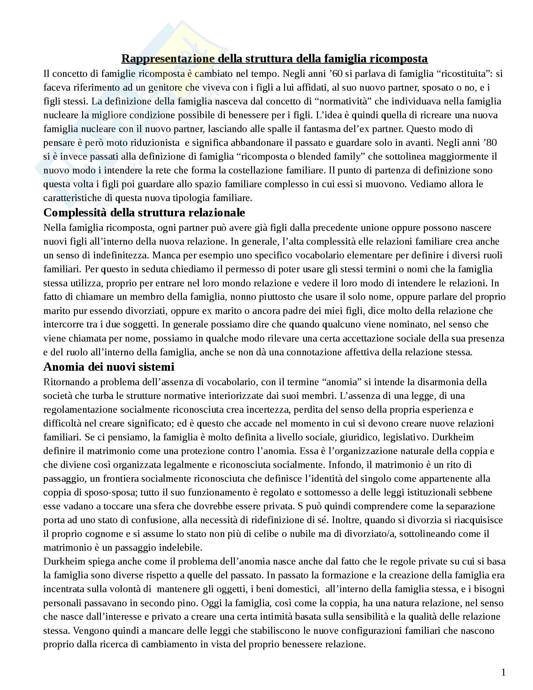 Riassunto esame Configurazioni familiari a rischio, prof. Carli, libro consigliato Le famiglie ricomposte