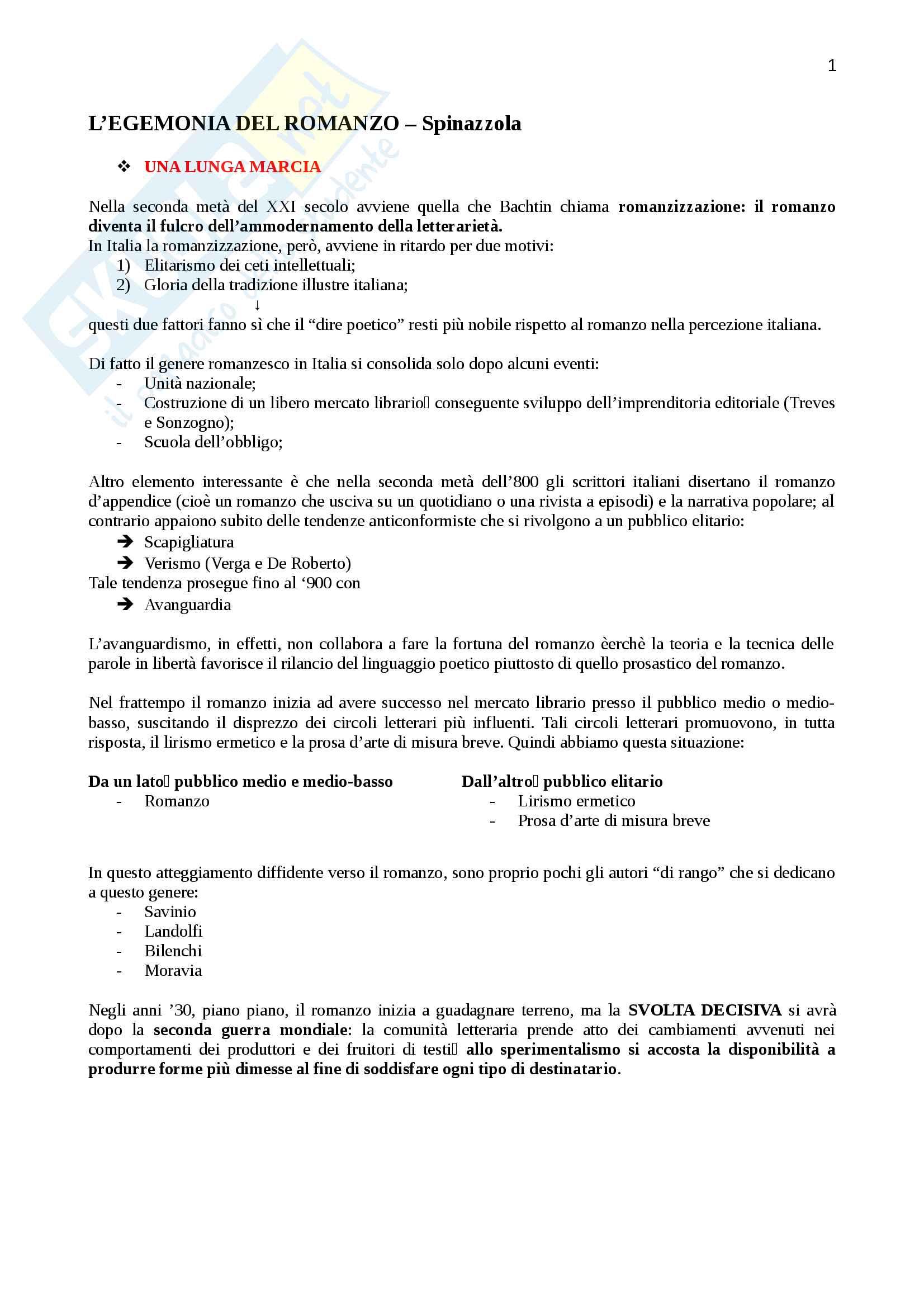"""Riassunto per """"Letteratura italiana otto-novecentesca"""", prof. Rosa, libro consigliato """"L'egemonia del romanzo"""" di Spinazzola , pag.7-68"""