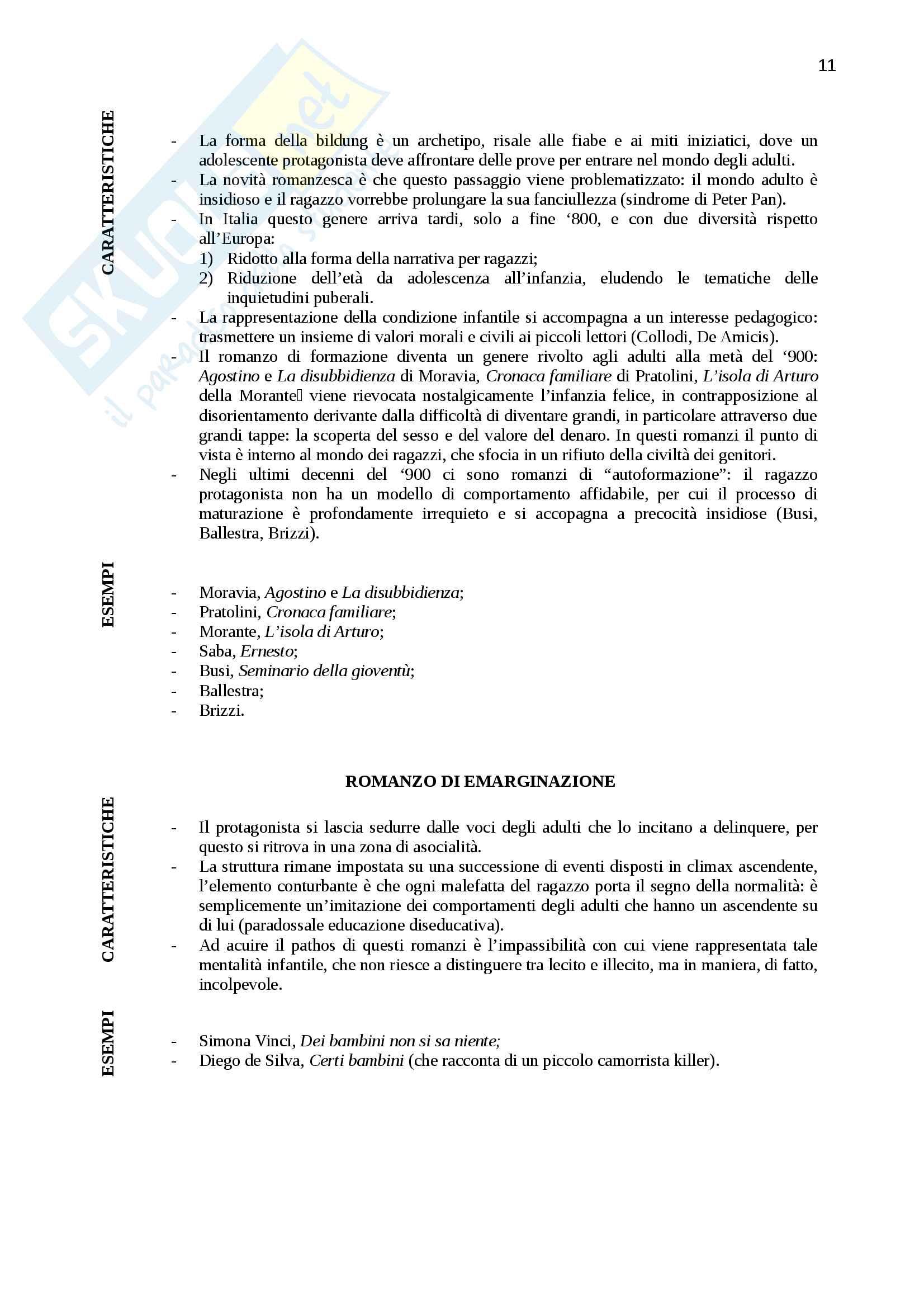 """Riassunto per """"Letteratura italiana otto-novecentesca"""", prof. Rosa, libro consigliato """"L'egemonia del romanzo"""" di Spinazzola , pag.7-68 Pag. 11"""
