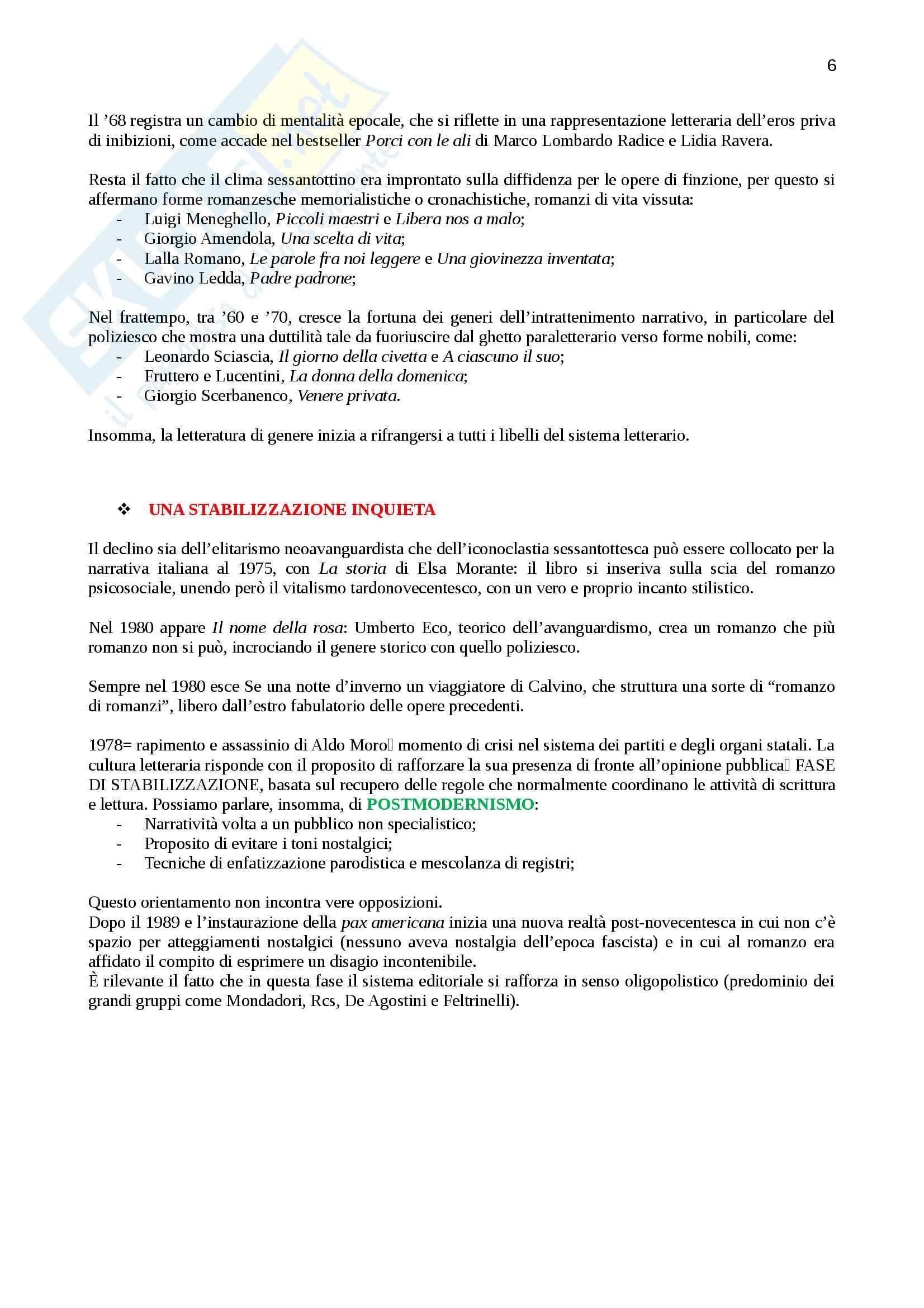 """Riassunto per """"Letteratura italiana otto-novecentesca"""", prof. Rosa, libro consigliato """"L'egemonia del romanzo"""" di Spinazzola , pag.7-68 Pag. 6"""
