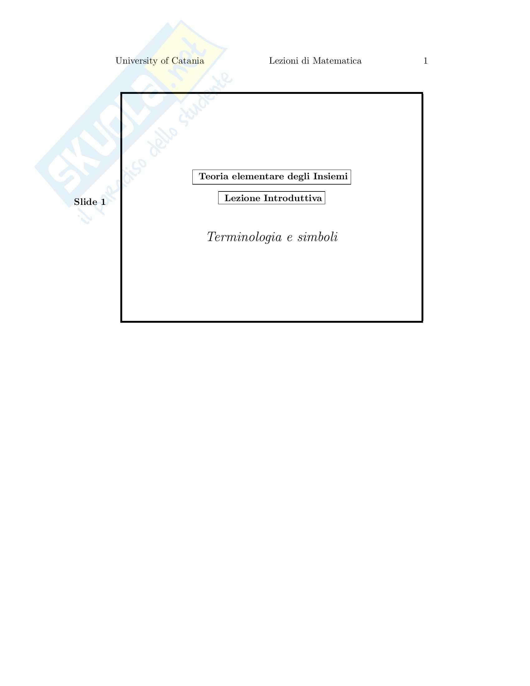 Matematica - teoria elementare degli insiemi - Appunti