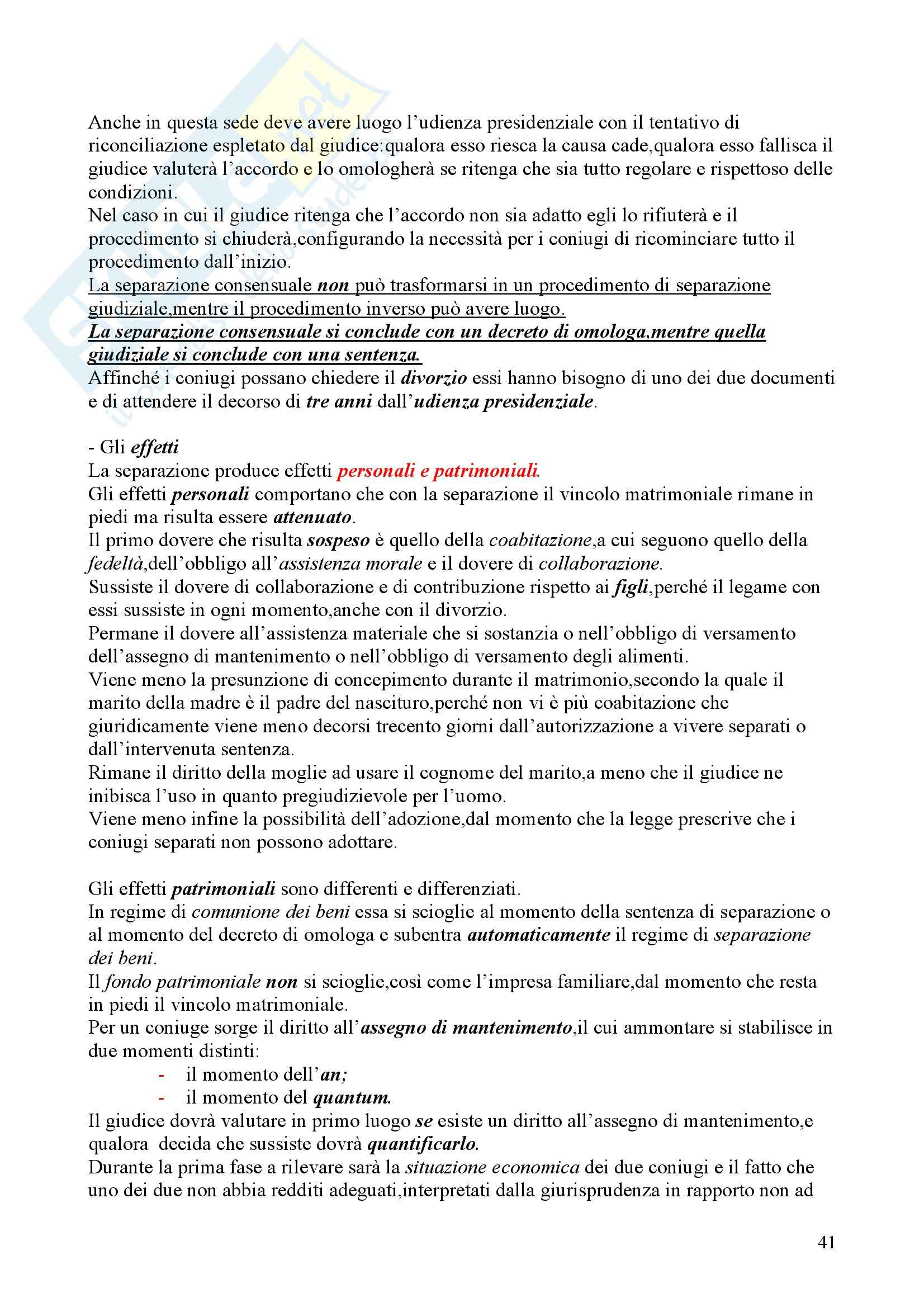 Diritto di famiglia - nozioni generali Pag. 41