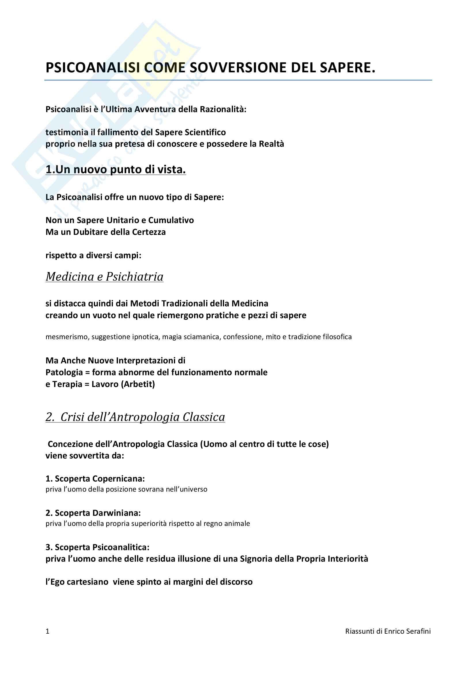 Riassunto esame Psicologia Dinamica, docente Maiocchi, libro consigliato Storia della psicoanalisi, Vegetti Finzi