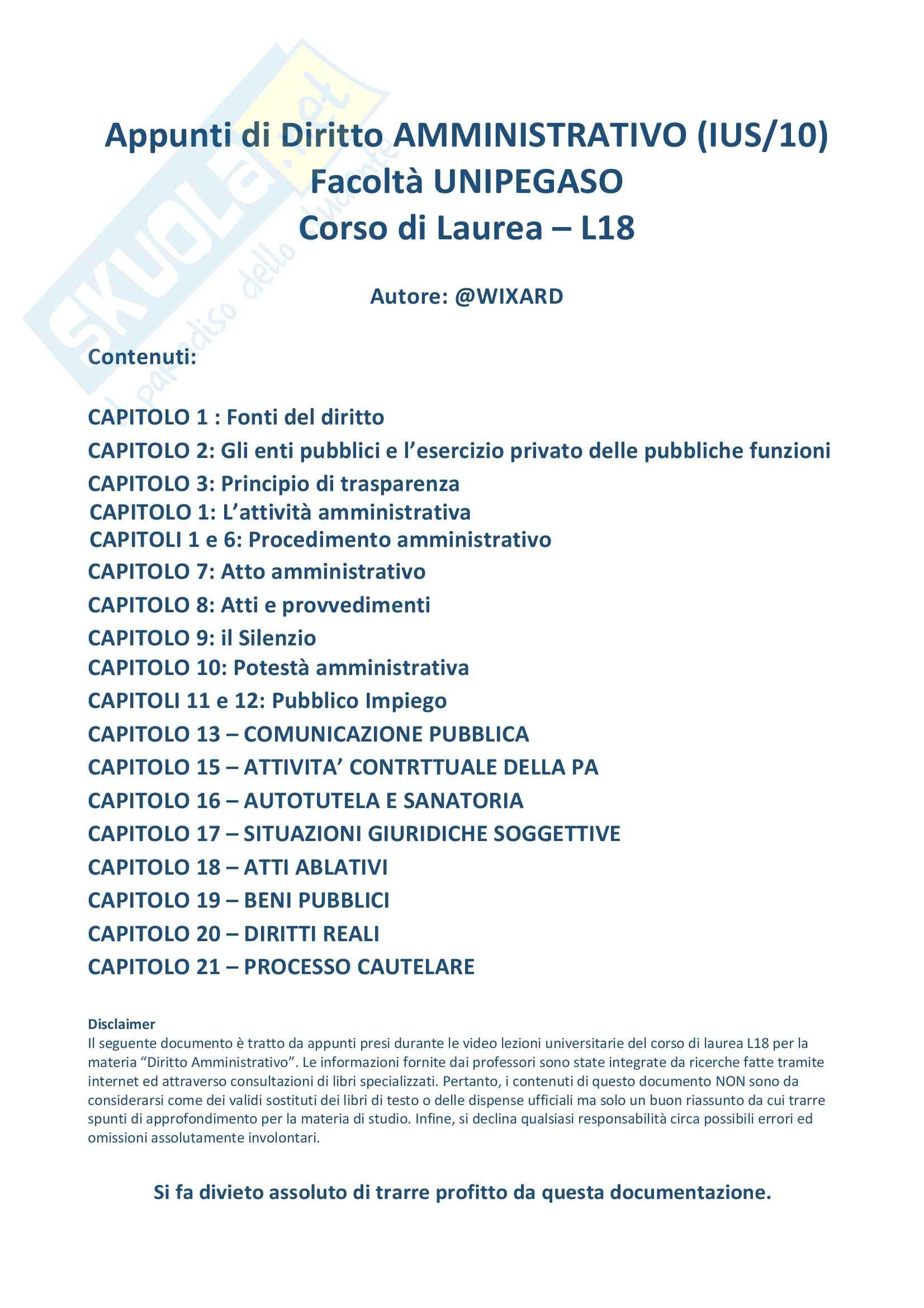 Riassunto di Diritto Amministrativo L18 Unipeg