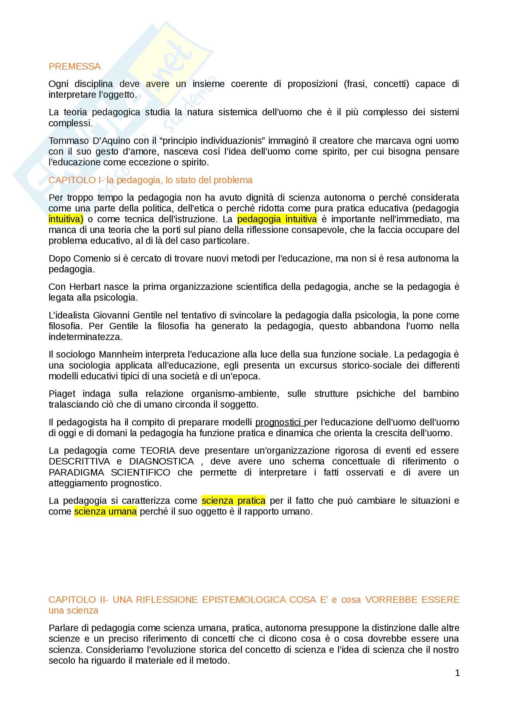 """Riassunto esame pedagogia generale, prof. Michele Corsi, libro consigliato """"Come pensare l'educazione. Verso una pedagogia come scienza"""" , Michele Corsi."""