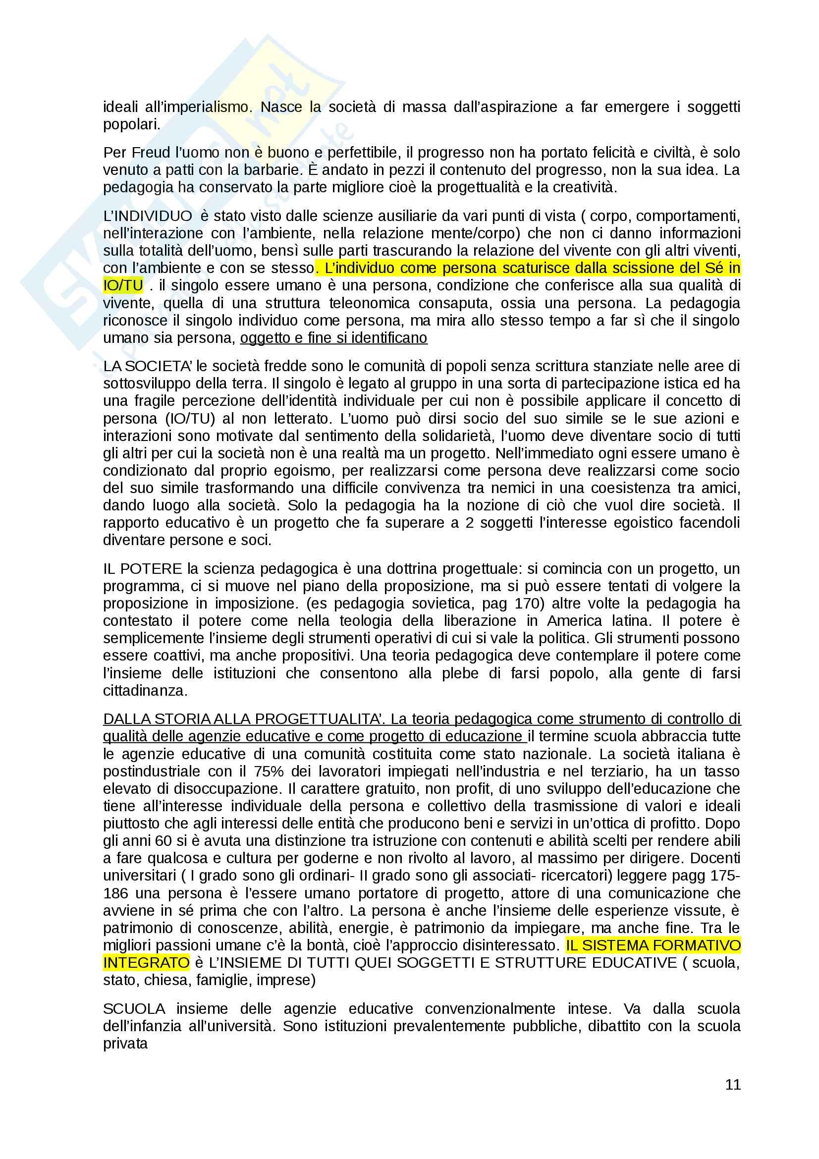 """Riassunto esame pedagogia generale, prof. Michele Corsi, libro consigliato """"Come pensare l'educazione. Verso una pedagogia come scienza"""" , Michele Corsi. Pag. 11"""
