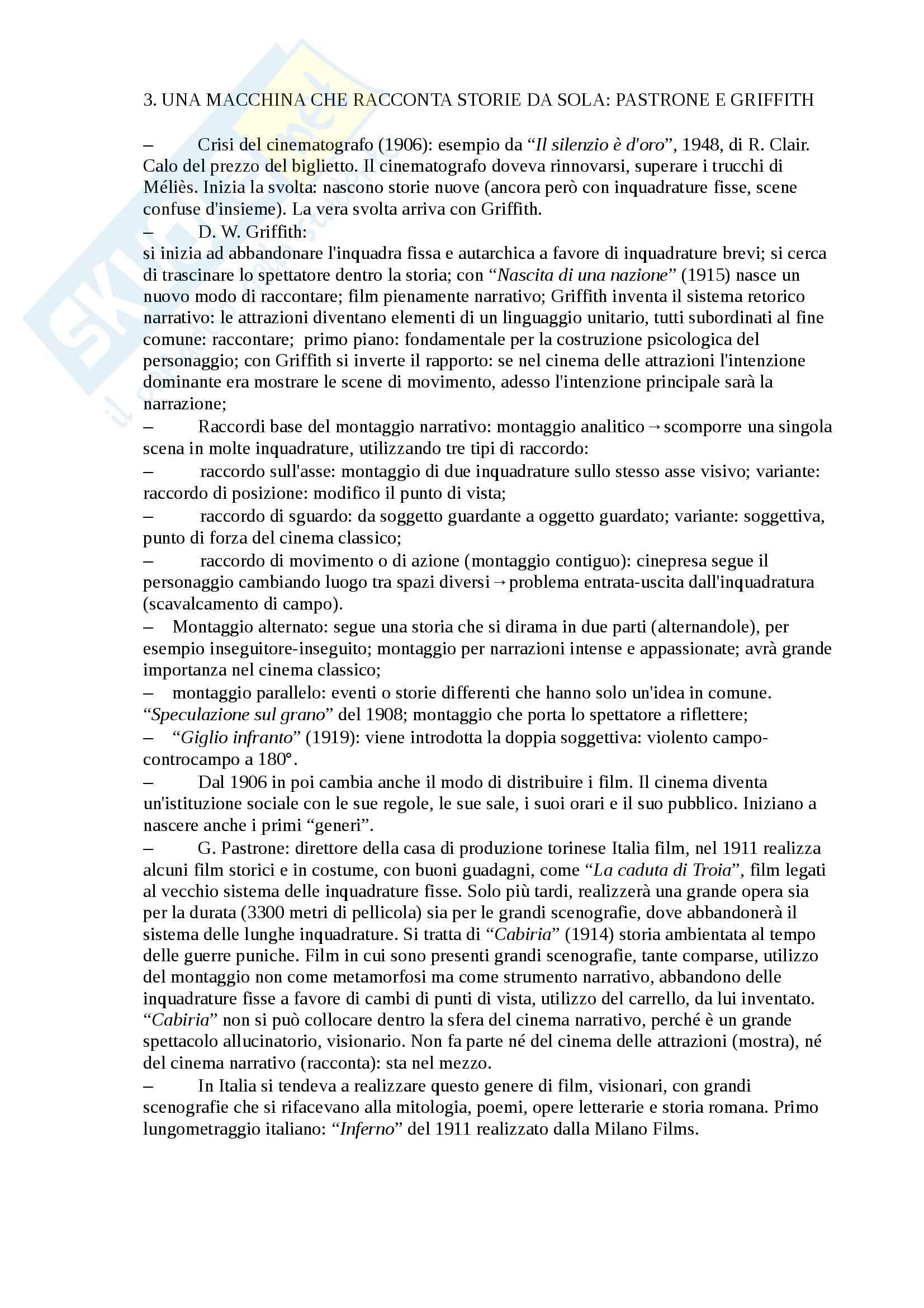 Riassunto esame Storia del Cinema, prof. Jandelli, libro consigliato L'Avventura del Cinematografo, Bernardi