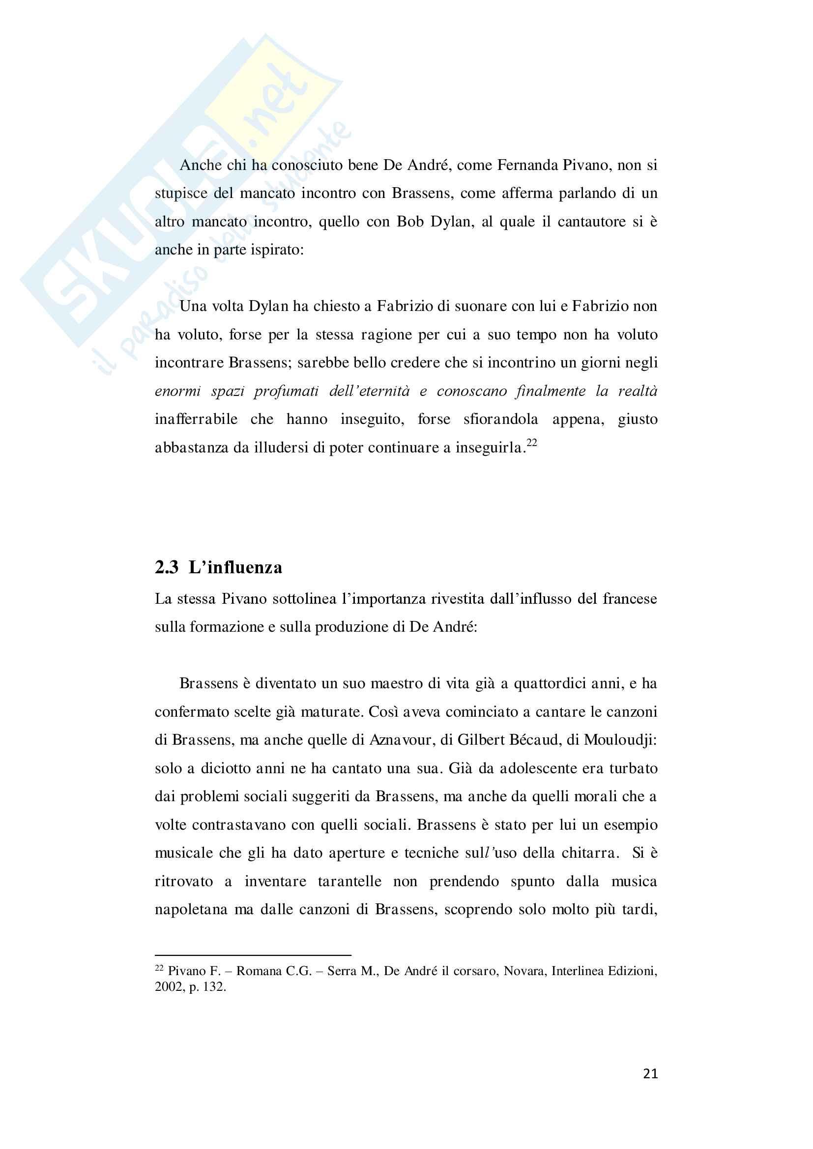 "Tesi di laurea in lingua e traduzione lingua francese - ""De André traduce Brassens"" Pag. 21"
