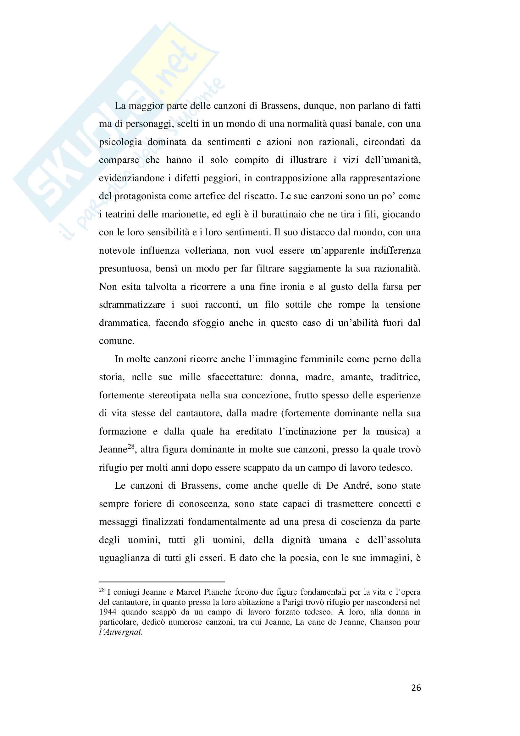 "Tesi di laurea in lingua e traduzione lingua francese - ""De André traduce Brassens"" Pag. 26"