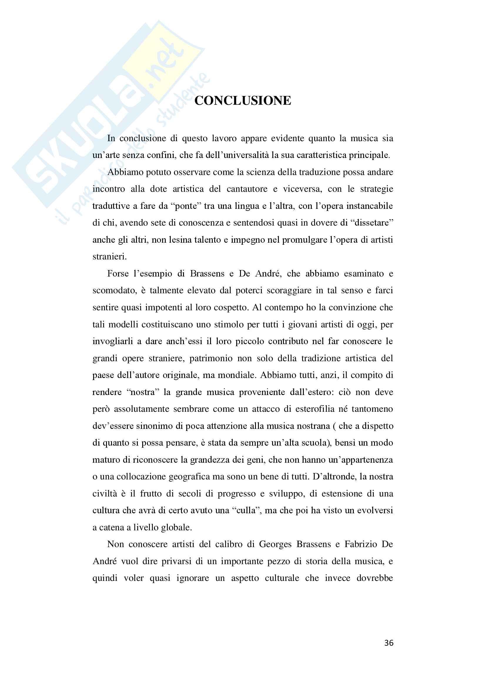 "Tesi di laurea in lingua e traduzione lingua francese - ""De André traduce Brassens"" Pag. 36"