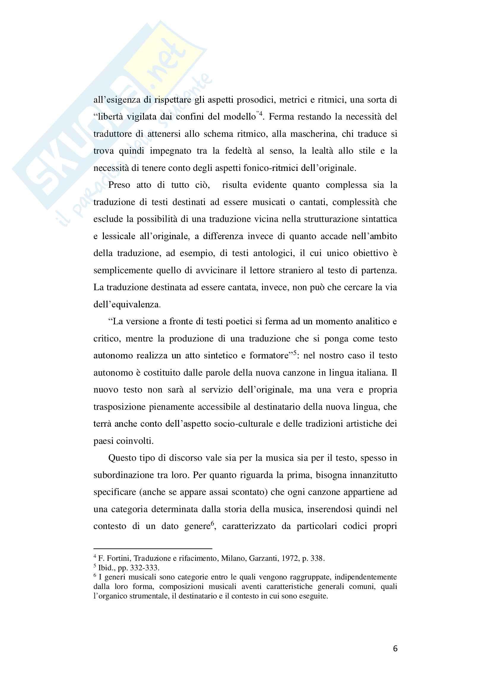 "Tesi di laurea in lingua e traduzione lingua francese - ""De André traduce Brassens"" Pag. 6"
