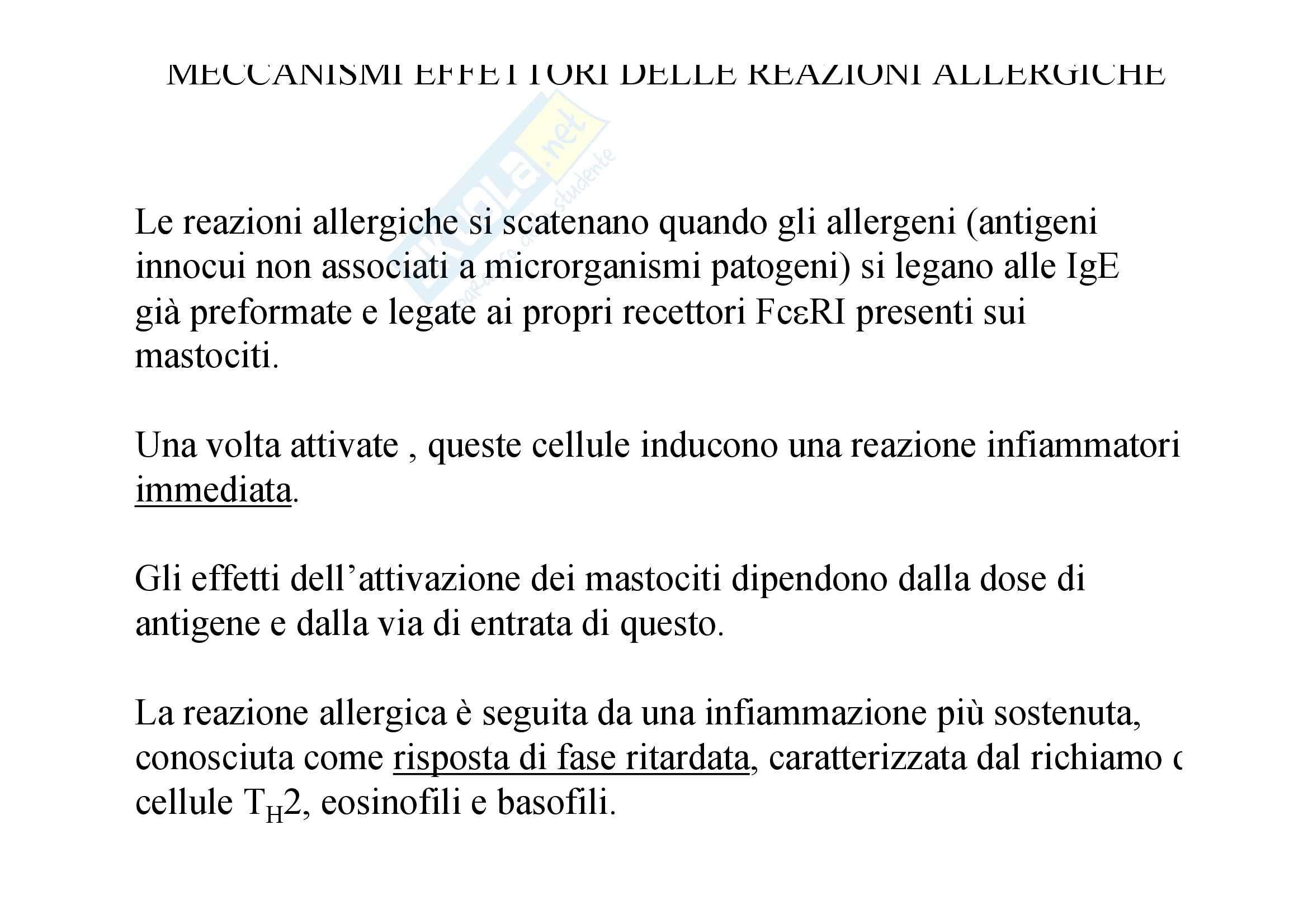 Immunologia - meccanismi allergie