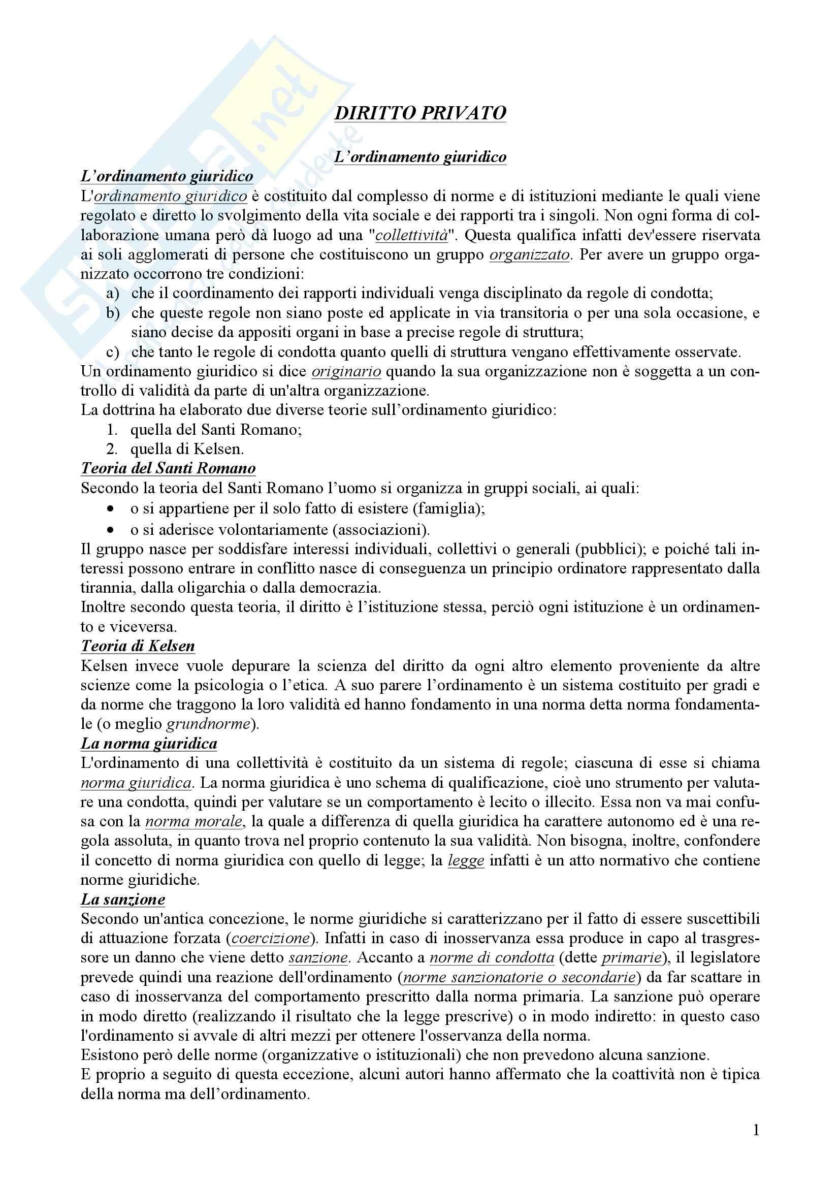 Riassunto esame Diritto Privato, prof. Panza, libro consigliato Manuale di Diritto Privato, Torrente, Schlesinger