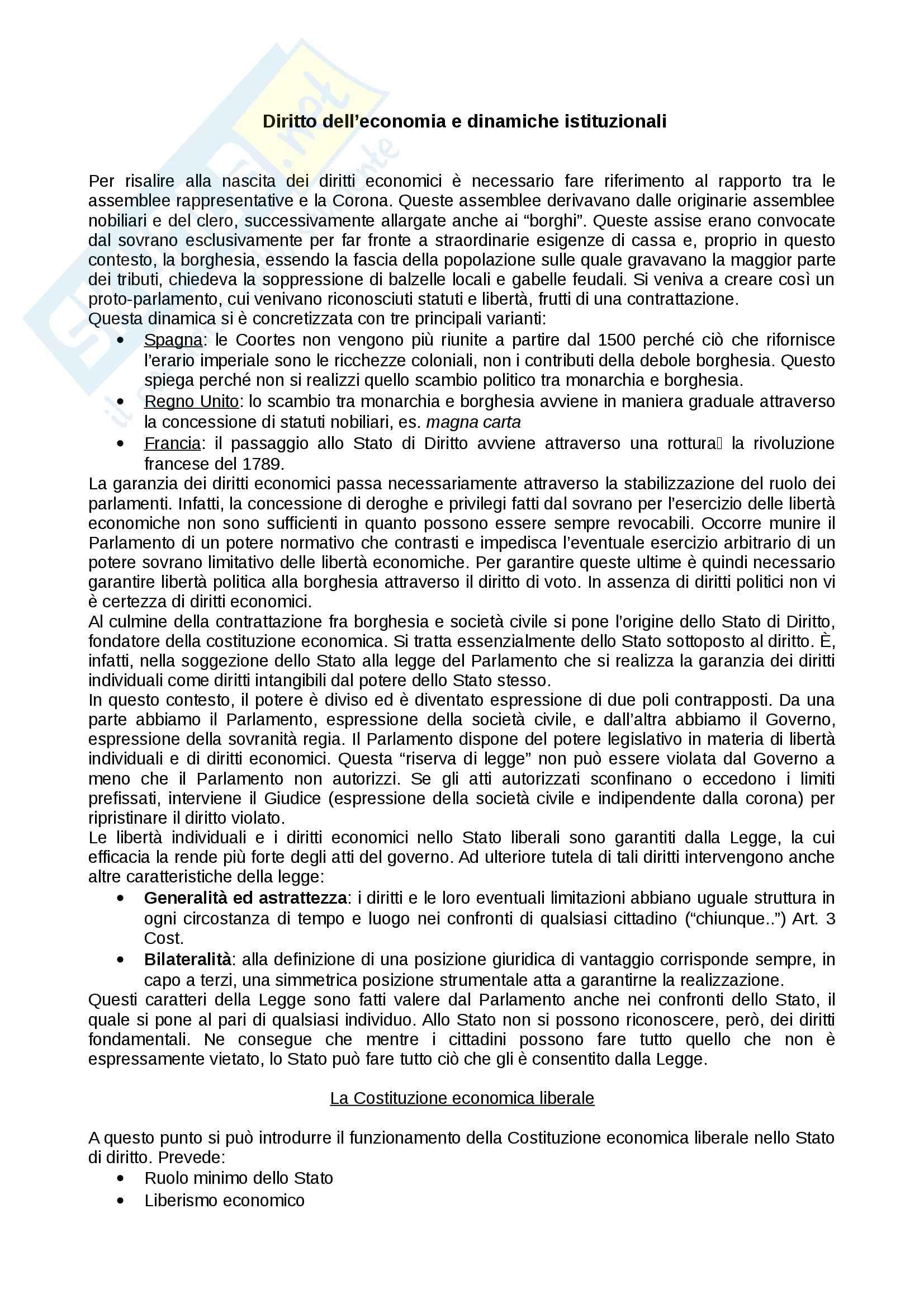 Riassunto esame diritto dell'economia, prof. Alla, libro consigliato Di Gaspare