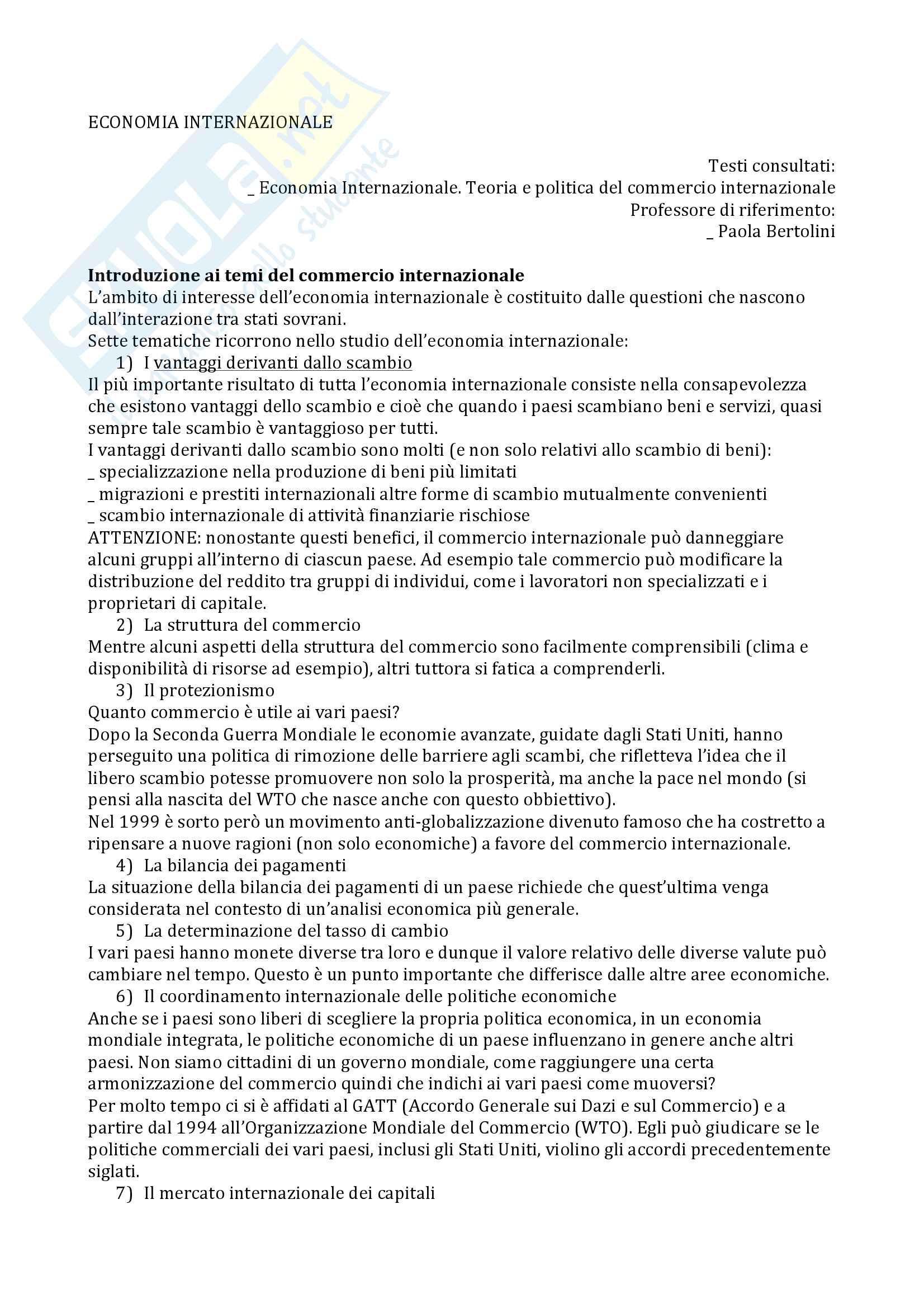 Appunti esame Economia internazionale