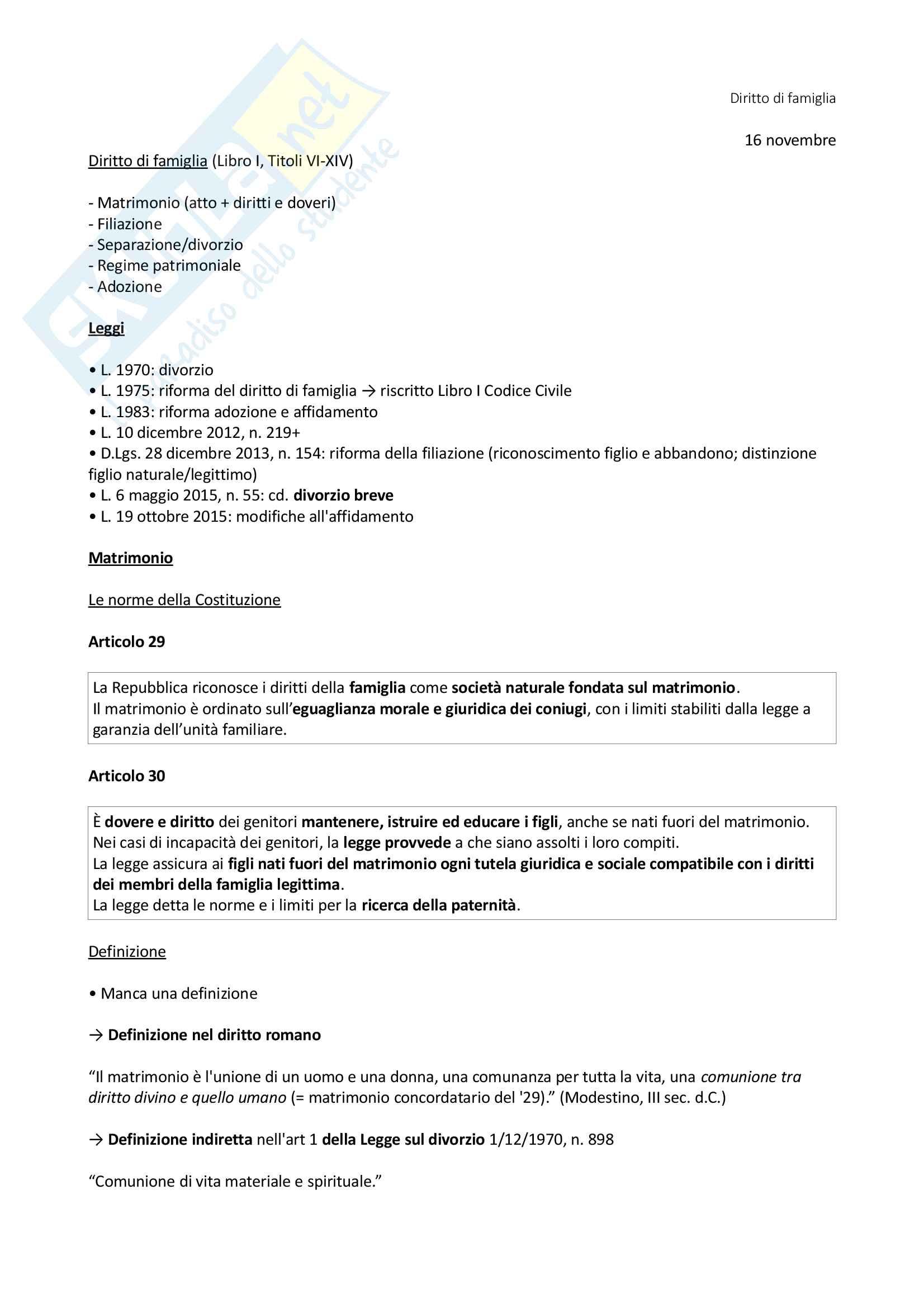 Istituzioni di Diritto Privato - Diritto di Famiglia (con divorzio breve e filiazione) - Benacchio (UniTn)