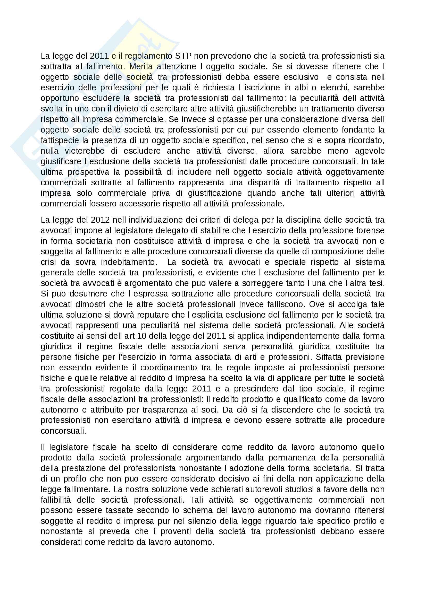 Riassunto esame diritto commerciale, Professore Bertolotti, Libro consigliato Società tra professionisti e società tra avvocati Pag. 11