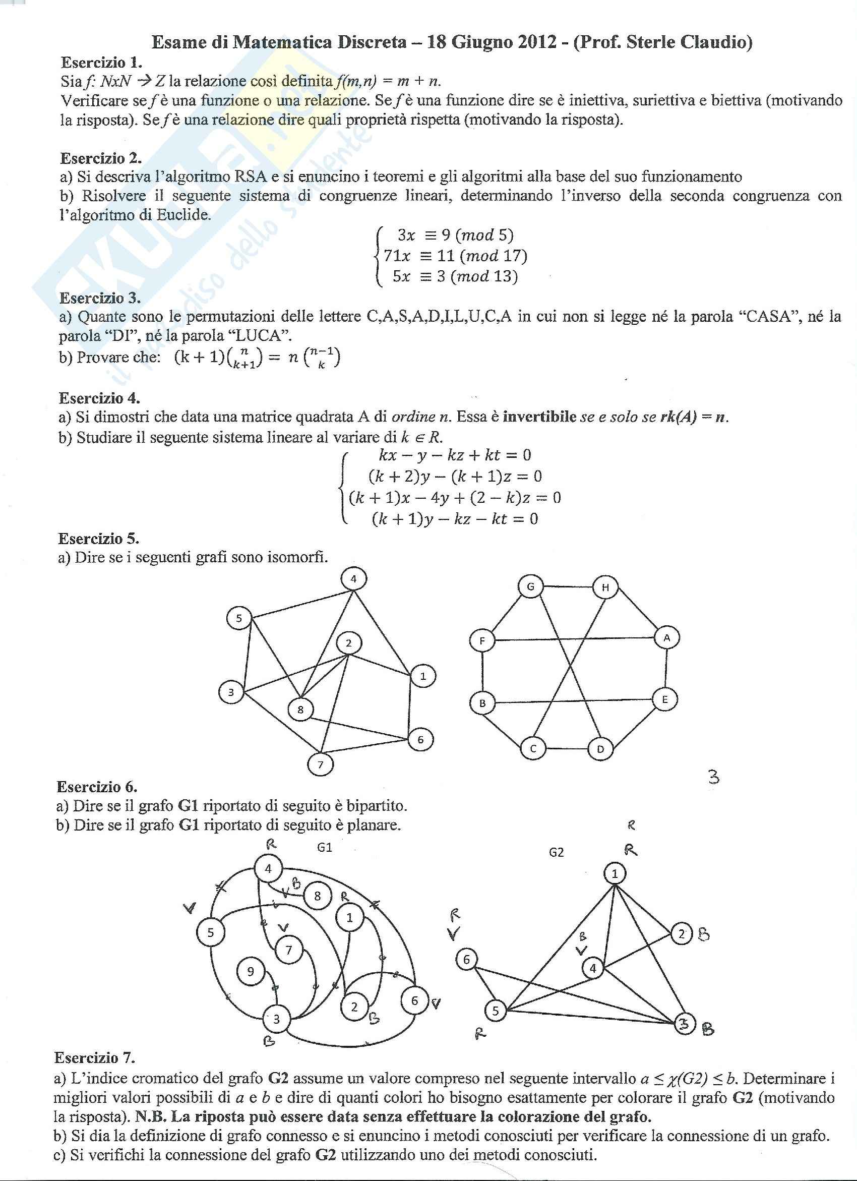 Matematica Discreta - Prova d'esame Giugno 2012