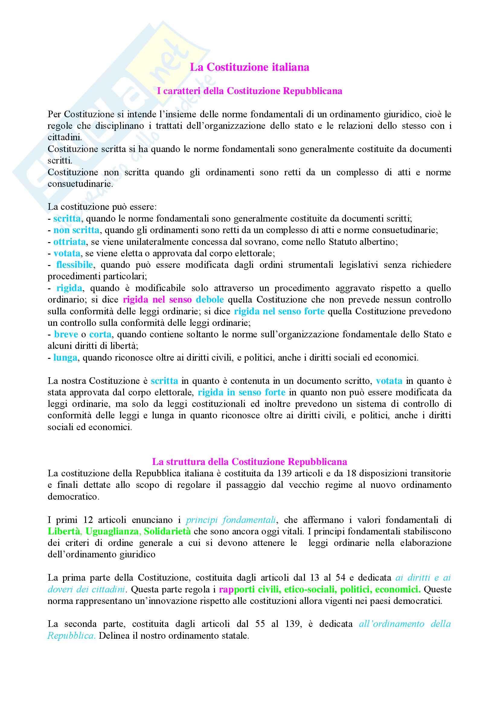 Storia contemporanea - la Costituzione italiana - Appunti