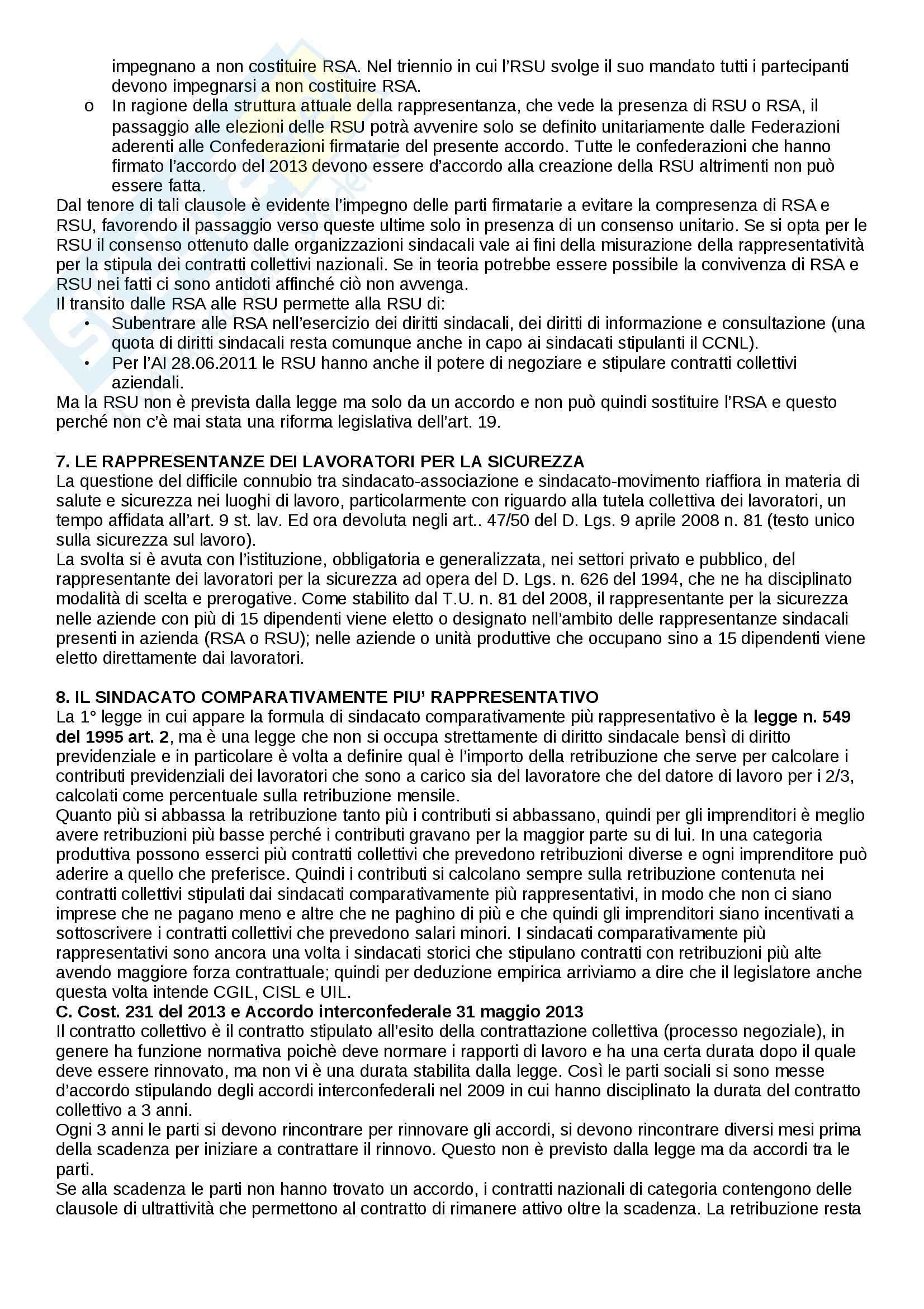 Riassunto esame Diritto del lavoro, prof. Paci, libro consigliato Il Diritto sindacale di carinci, De Luca, Tamajo, Tosi, Treu Pag. 16