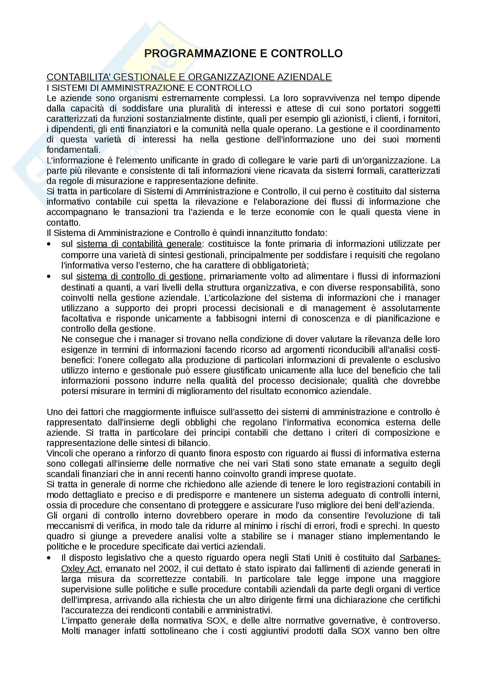 Riassunto esame Programmazione e controllo, prof. Pistoni, libro consigliato Programmazione e controllo, Horngren