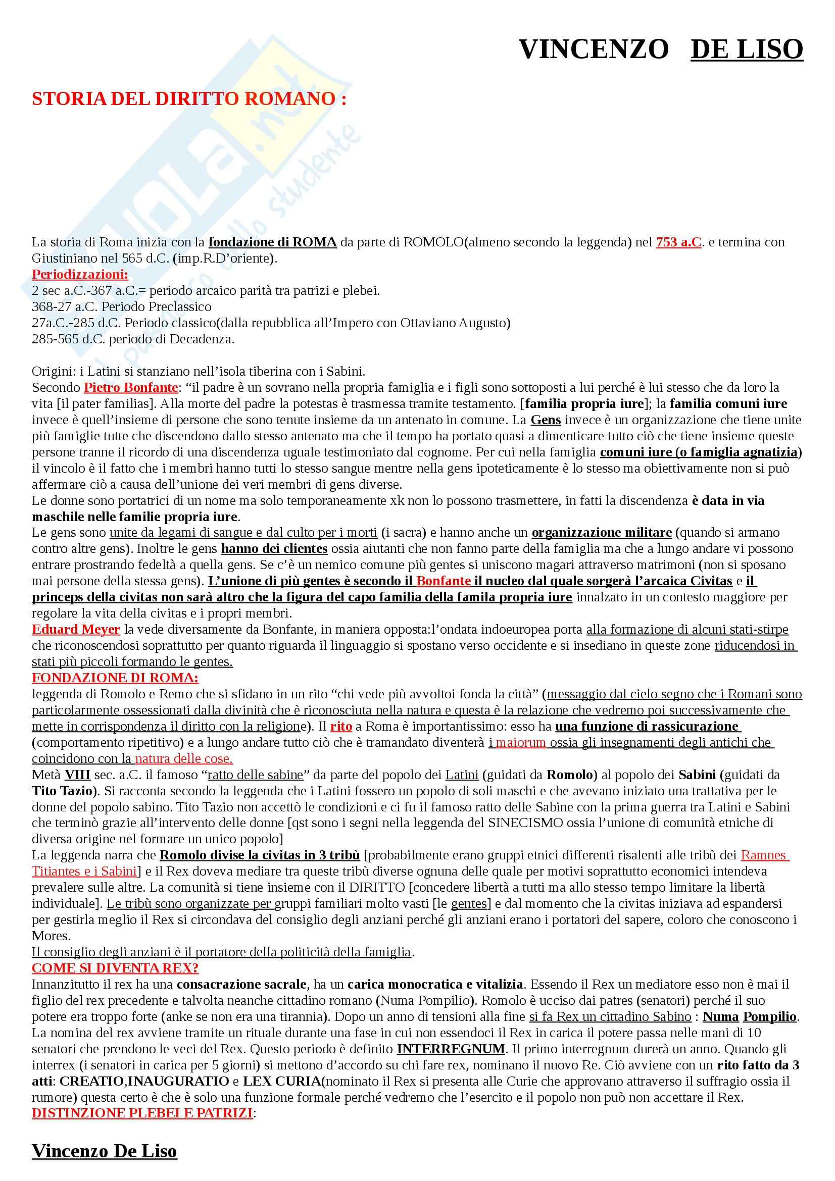 Riassunto esame Storia del Diritto Romano, prof. Cascione, libro consigliato Lineamenti di Storia del Diritto Romano, Talamanca
