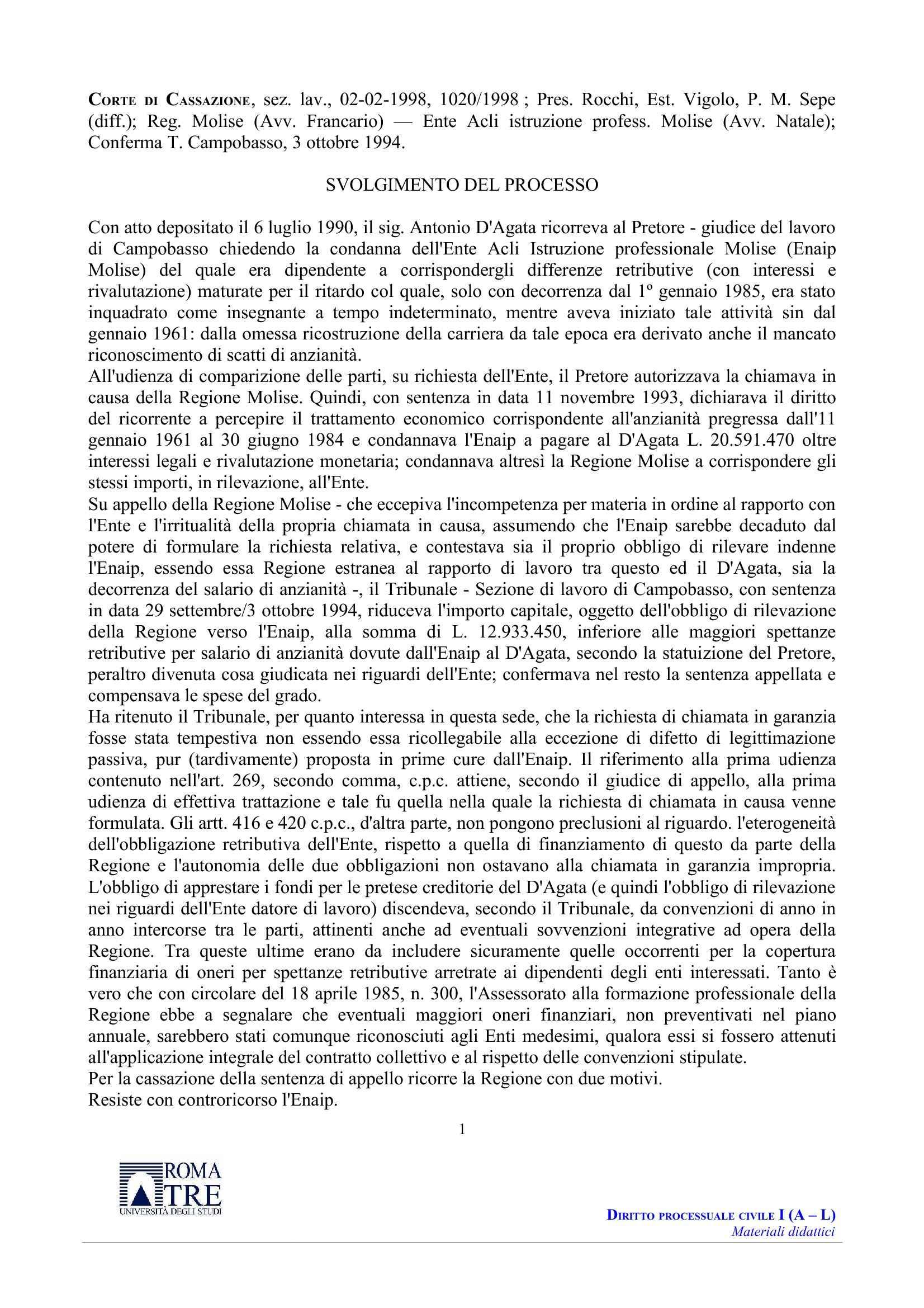 Chiamata in garanzia - C. Cass.  n. 1020/98