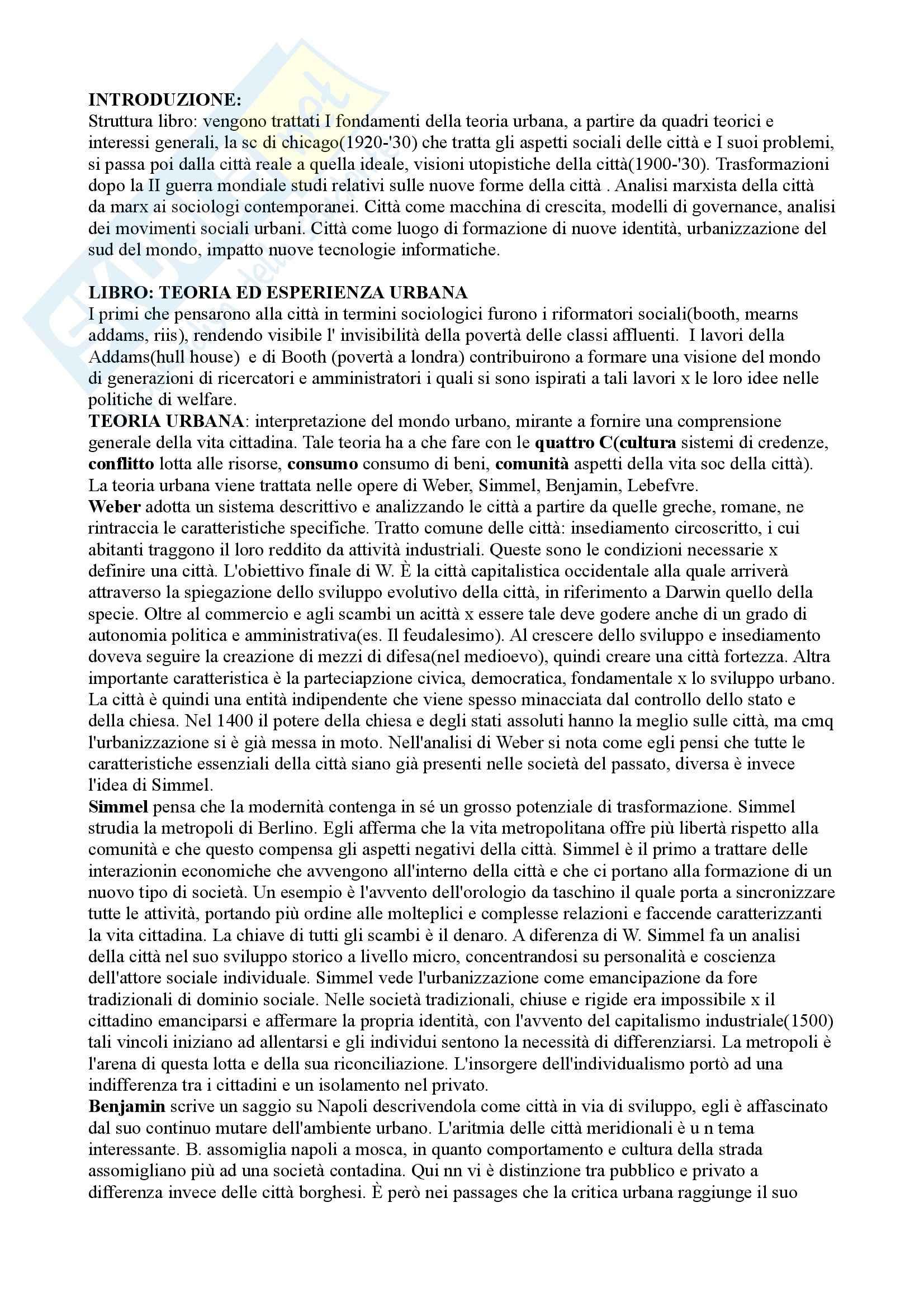Riassunto esame Sociologia della città, prof. Montagnini, libro consigliato Teoria ed esperienza urbana, Park