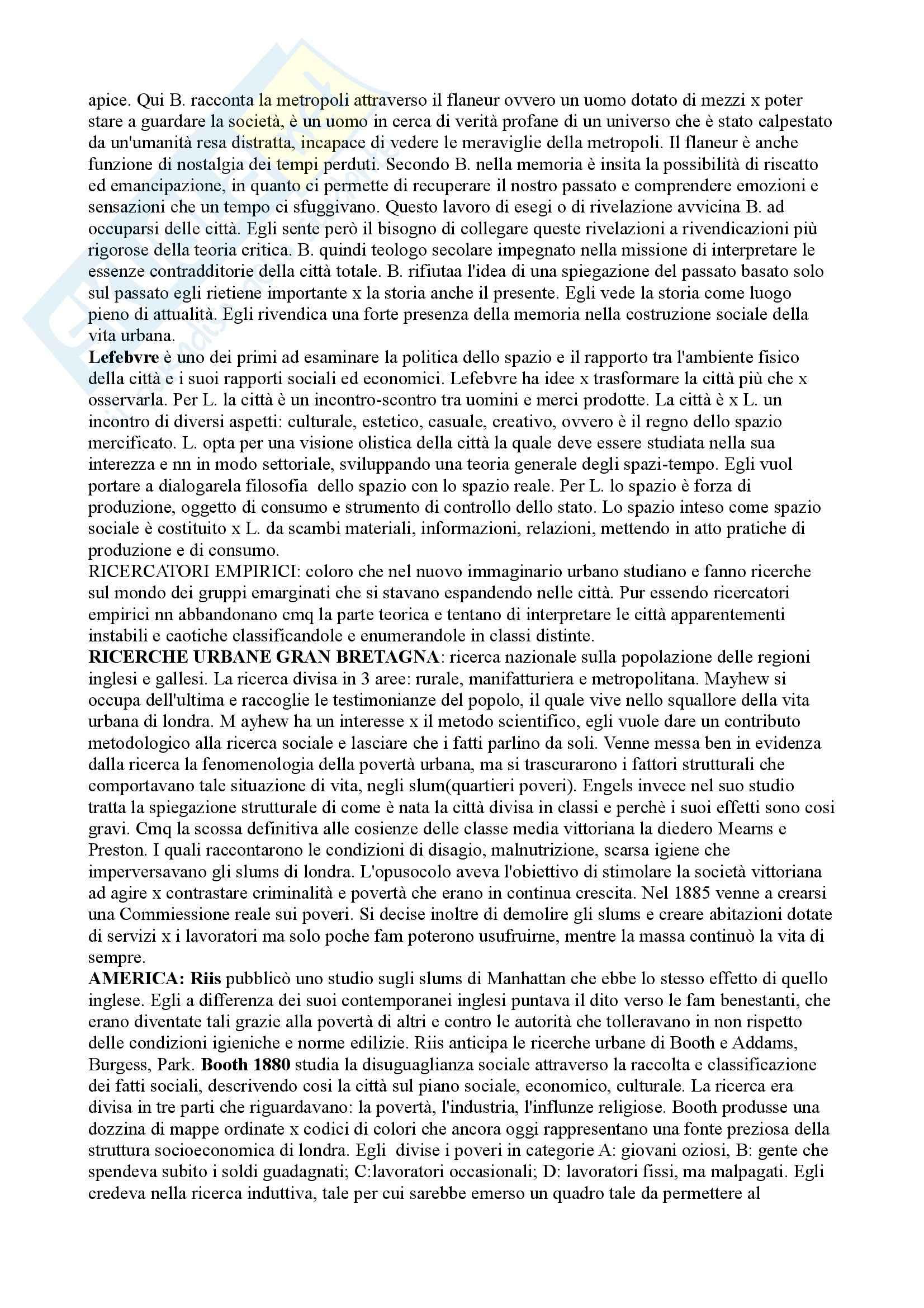 Riassunto esame Sociologia della città, prof. Montagnini, libro consigliato Teoria ed esperienza urbana, Park Pag. 2